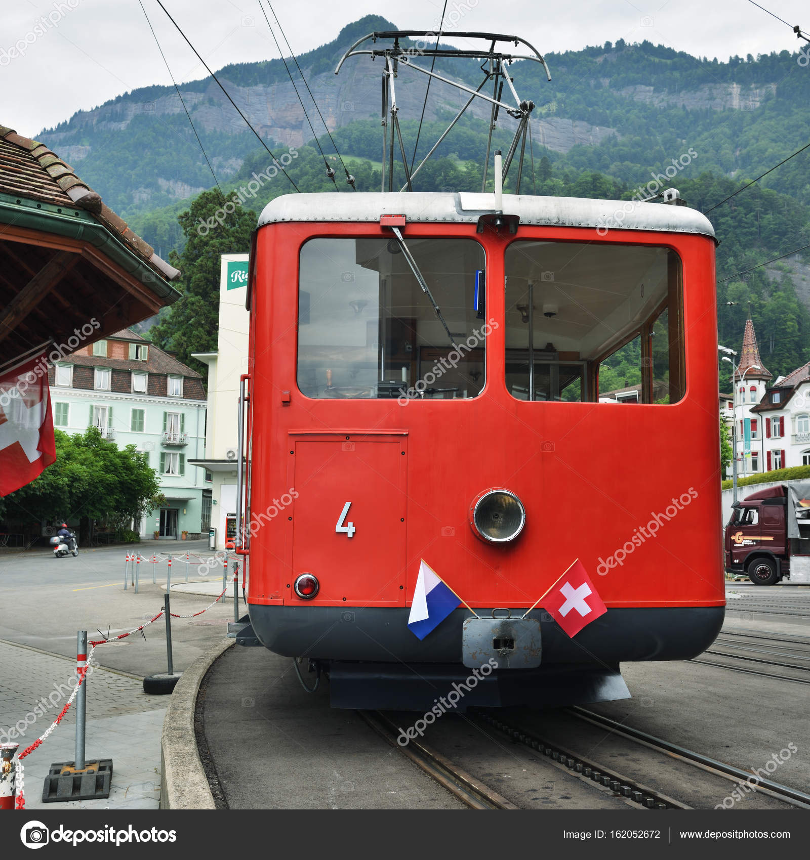 Red Train at Vitznau station, Lucerne Switzerland – Stock Editorial ...