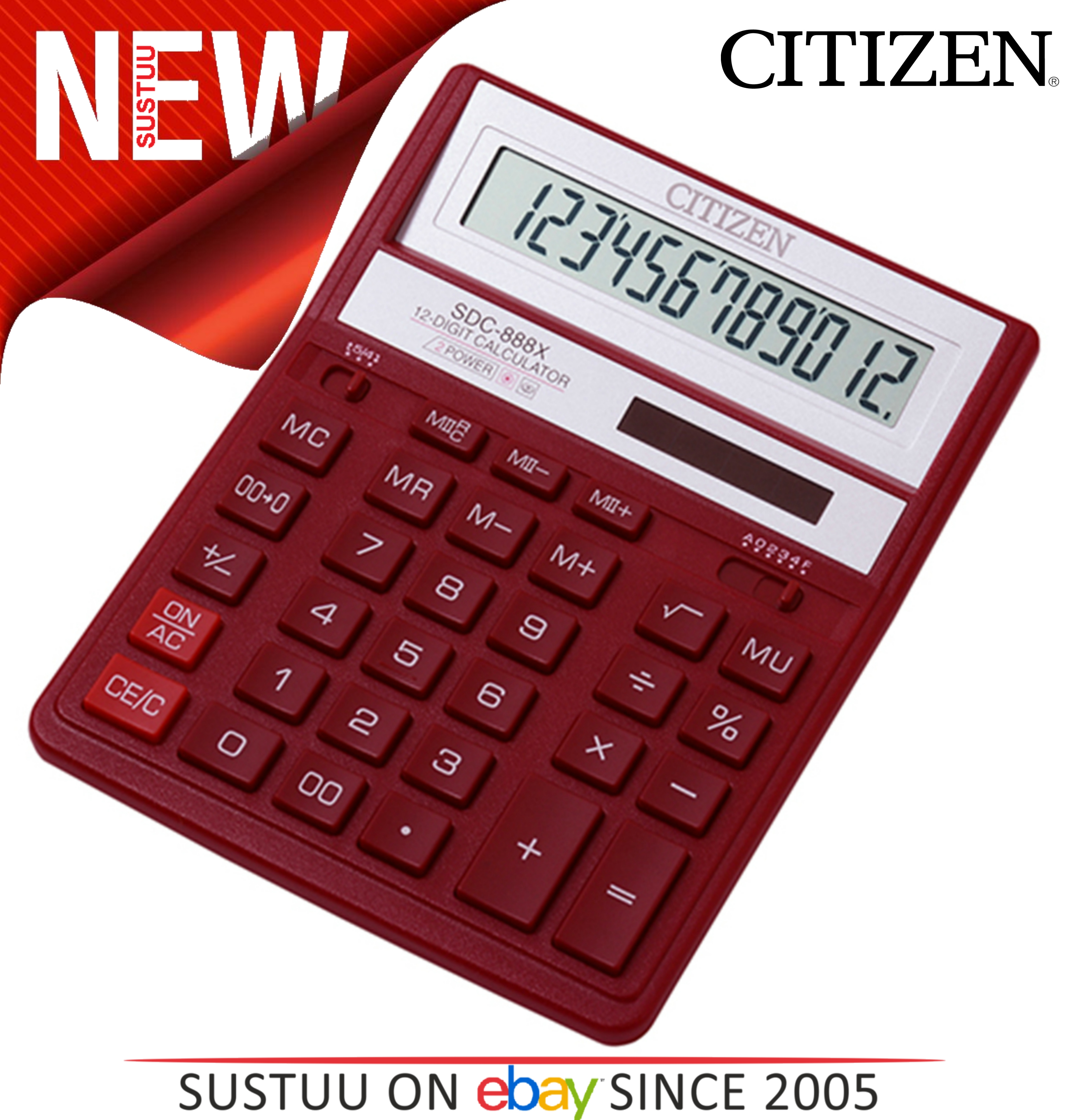 NEW Citizen SDC888XRD Solar & Battery Dual Powered Office Calculator ...
