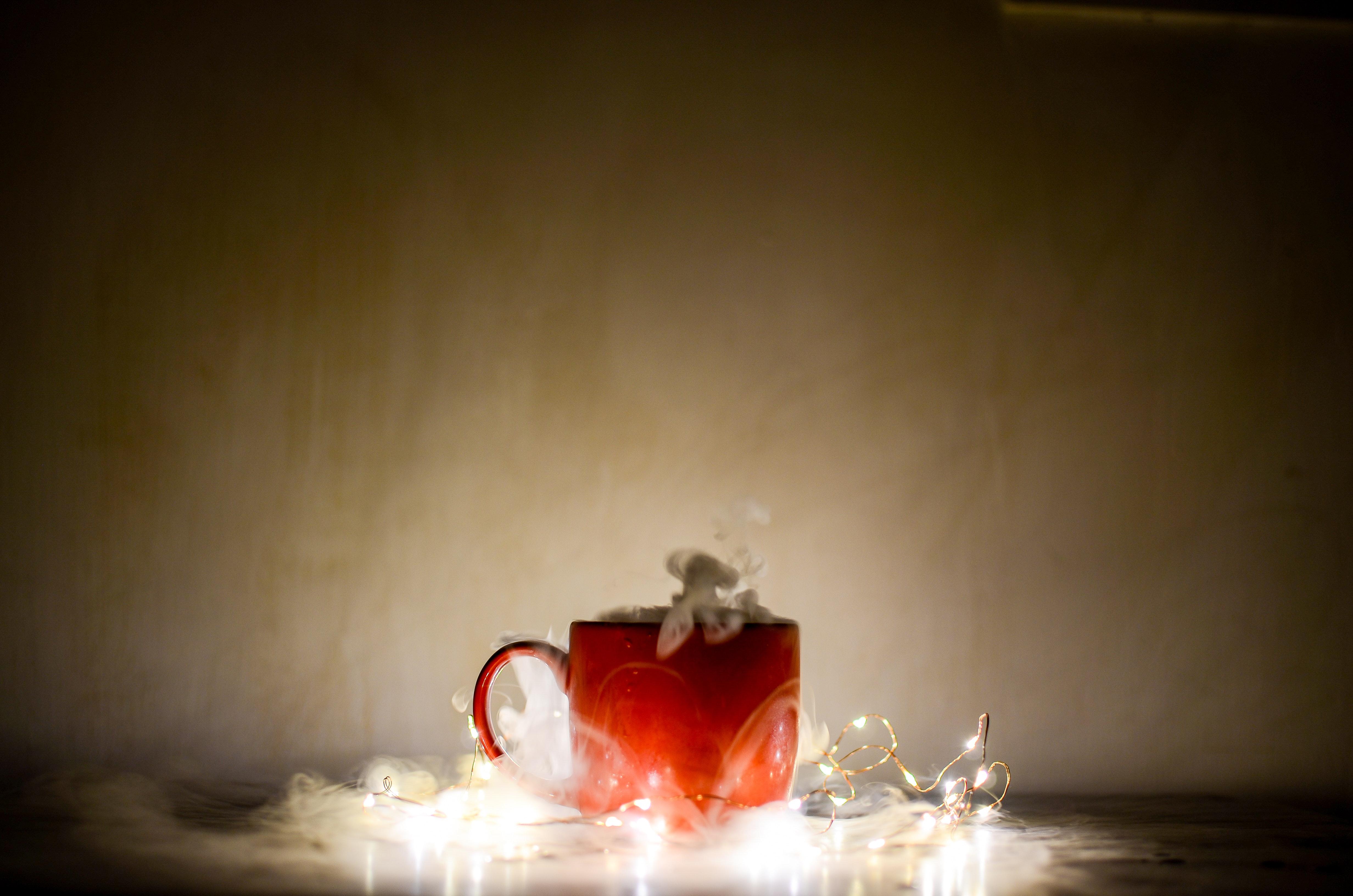 Red Ceramic Coffee Mug, Background, Magic, Holiday, Hot, HQ Photo