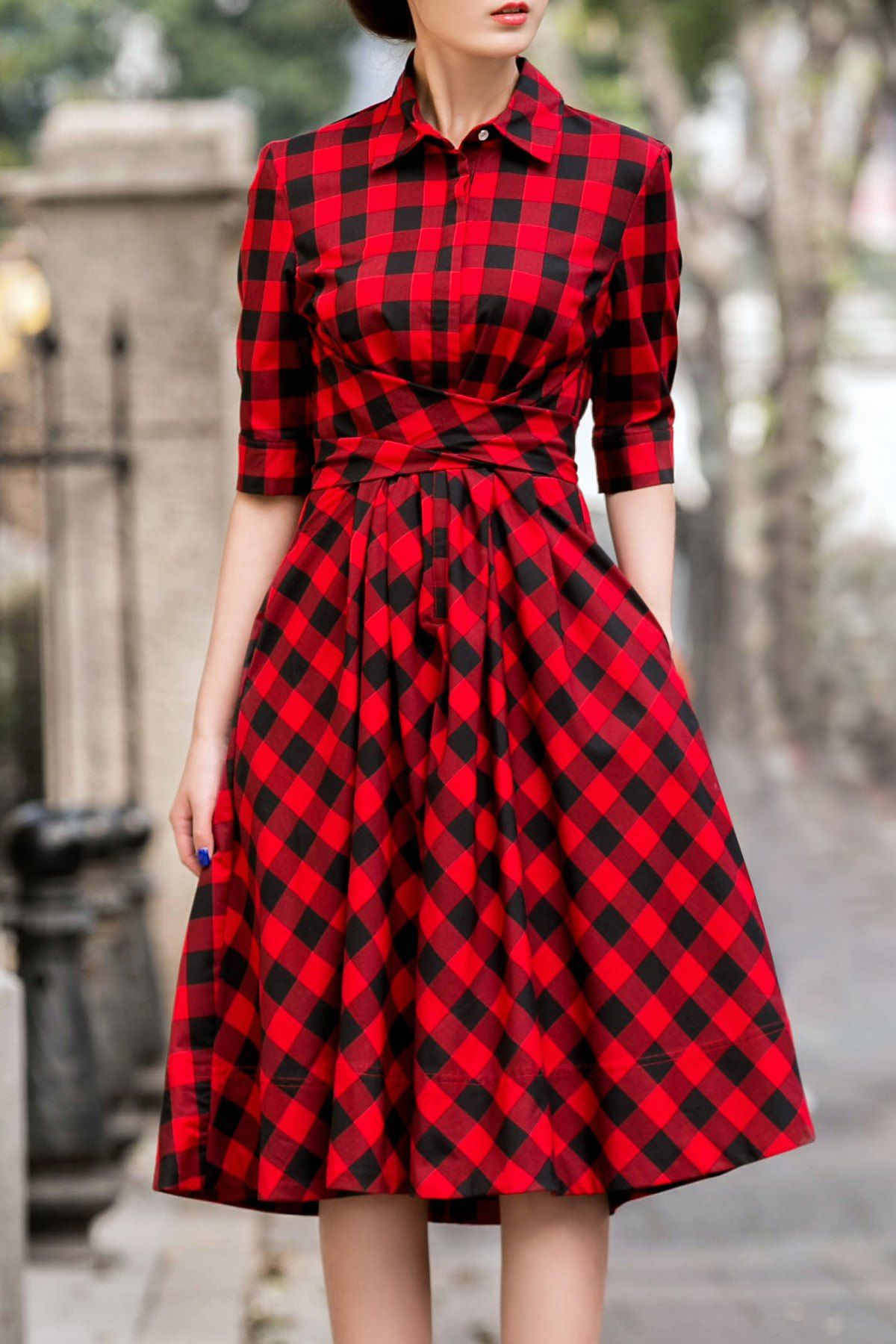 18cdy Red Retro Style Tie Checked Dress | Shirt Dresses at DEZZAL ...