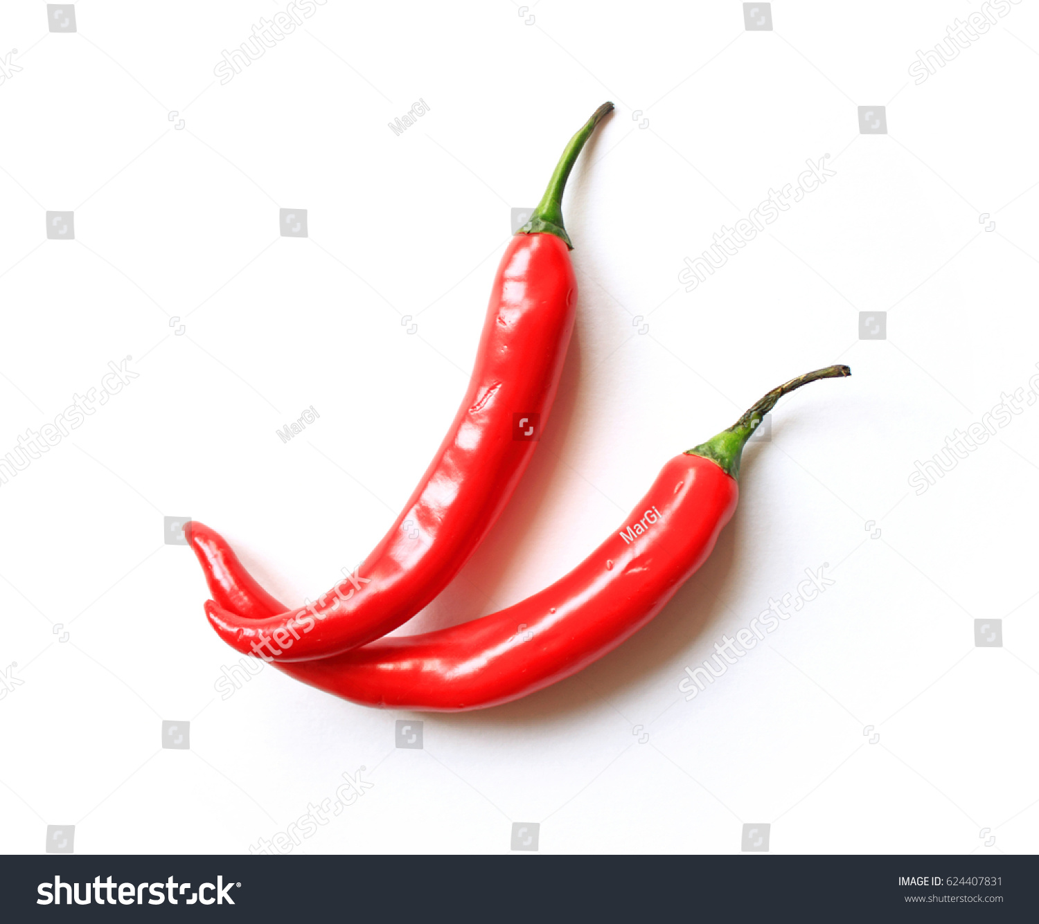 Red Chilli Pepper On White Background Stock Photo (Royalty Free ...