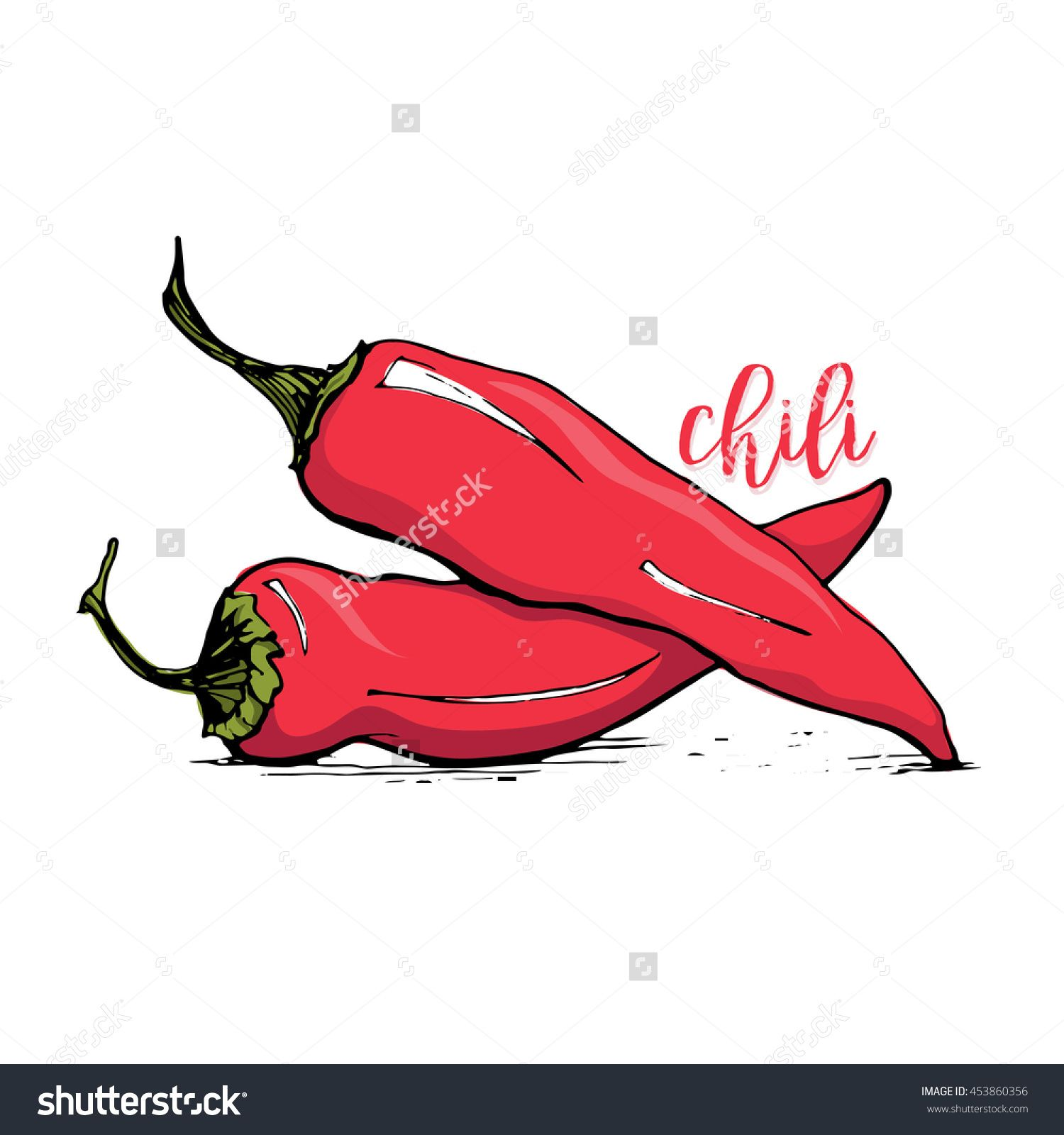 Red Chilli Pepper Sketch Style Vector Illustration Isolated On White ...