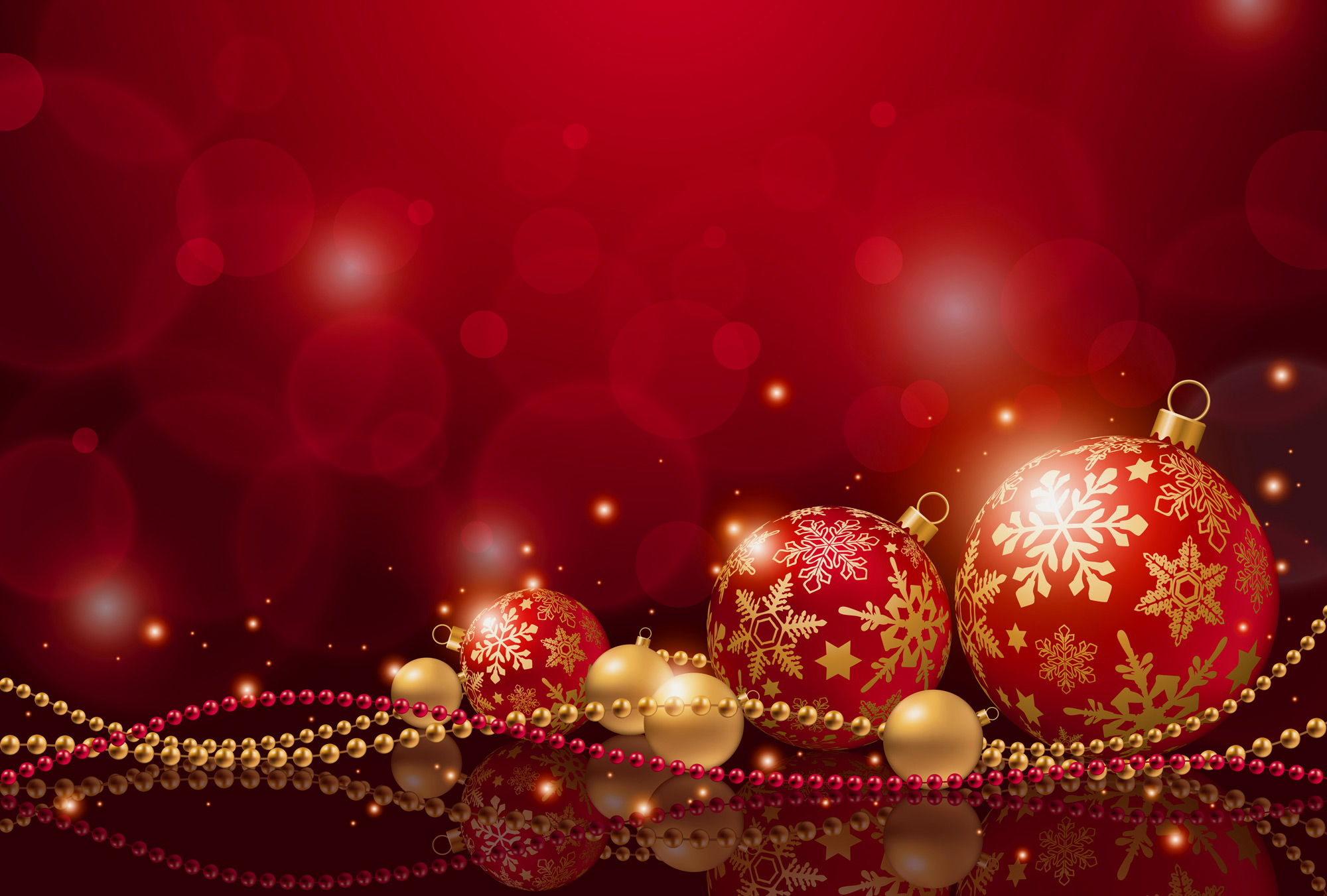 Red Christmas Background with Christmas Balls | Gallery ...