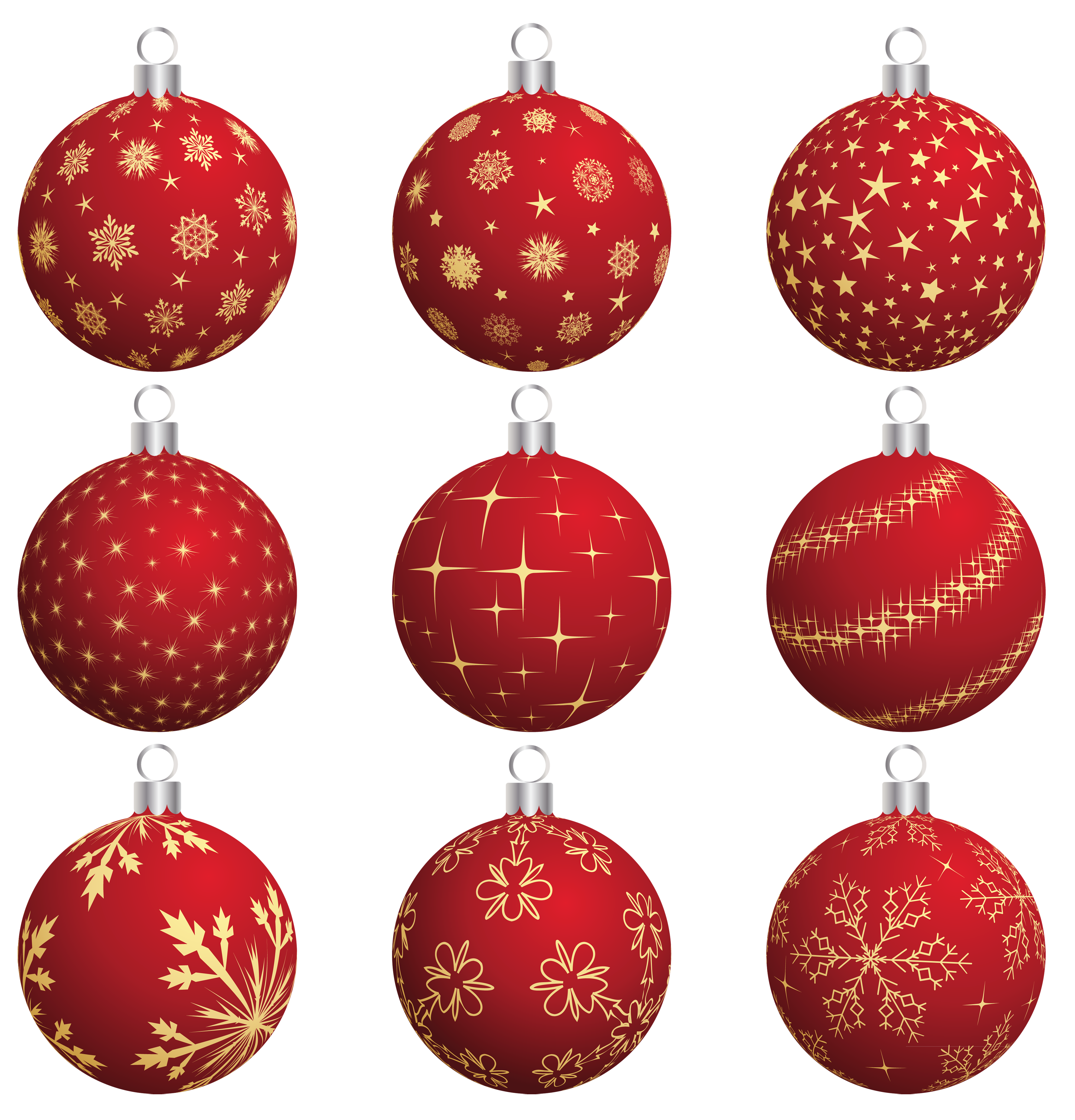 Large Transparent Red Christmas Balls Collection PNG Clipart ...