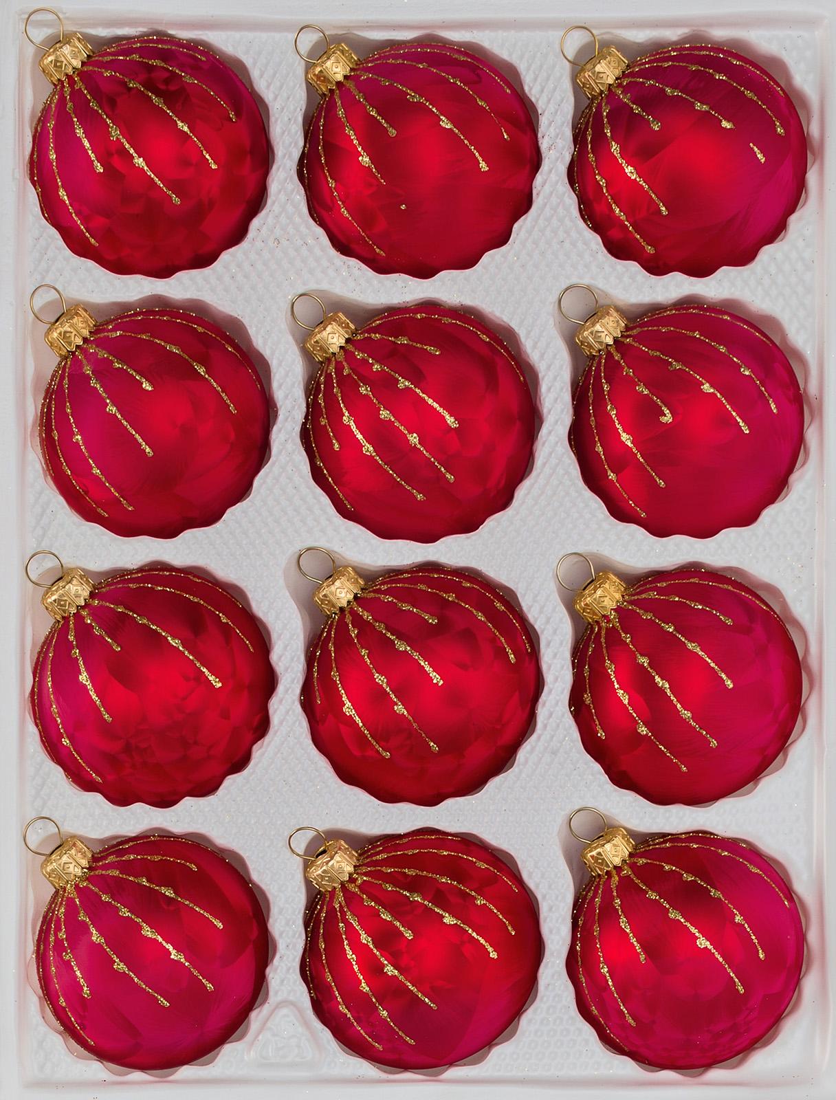 12 pcs. Glass Christmas Balls Set in