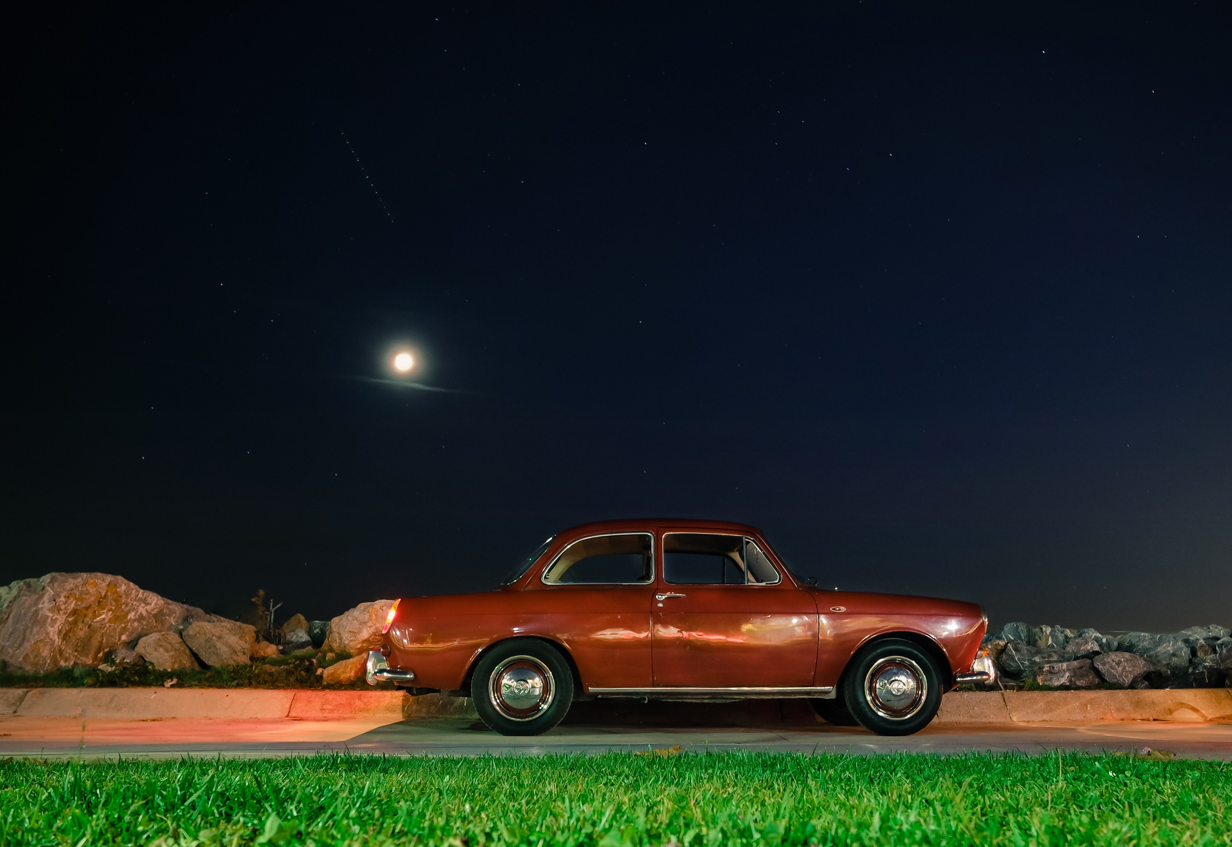 Red Classic Coupe, Car, Classic car, Drive, Moon, HQ Photo