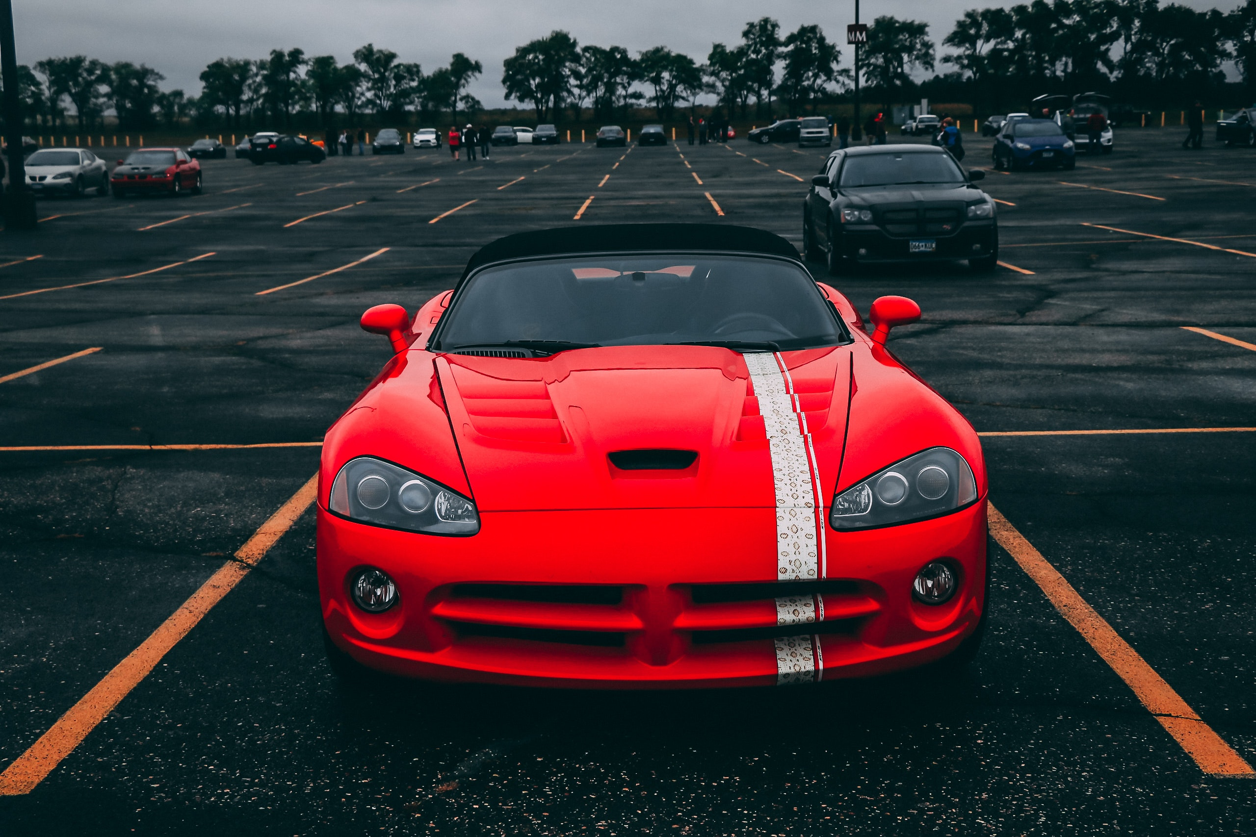 Red Convertible Coupe on Black Surface, Asphalt, Shiny, Viper, Vehicles, HQ Photo