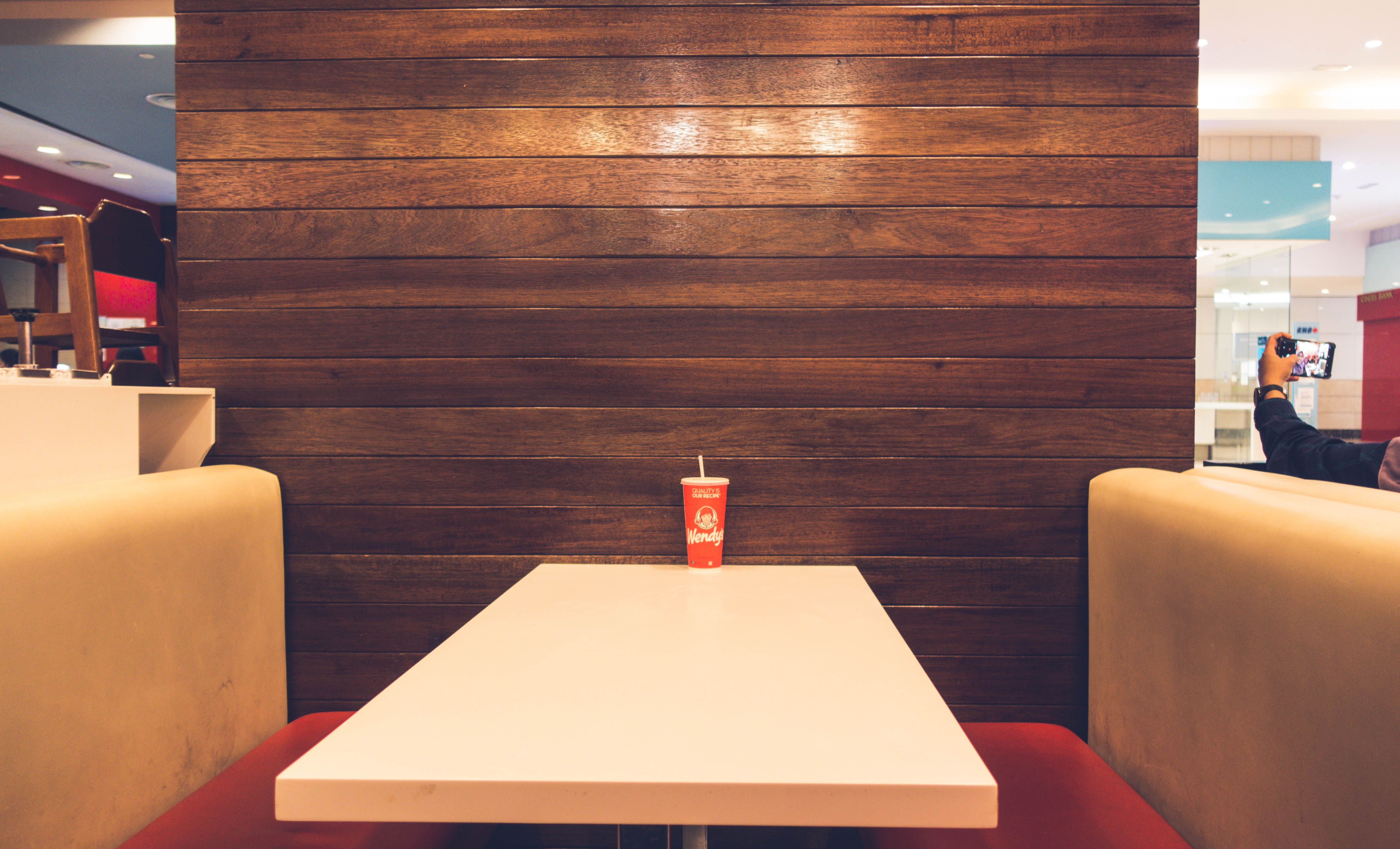 Red Disposable Cup on White Table, Indoors, Wooden, Taking photo, Table, HQ Photo