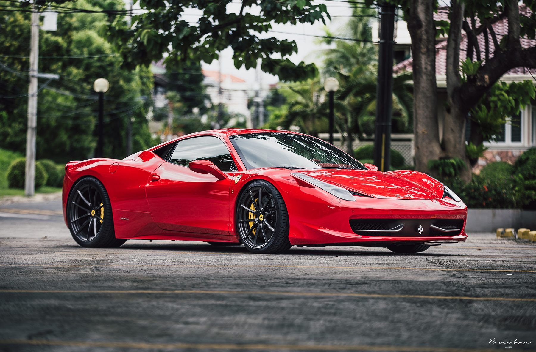 red ferrari 458 brixton forged wheels wr3 ultrasport satin black