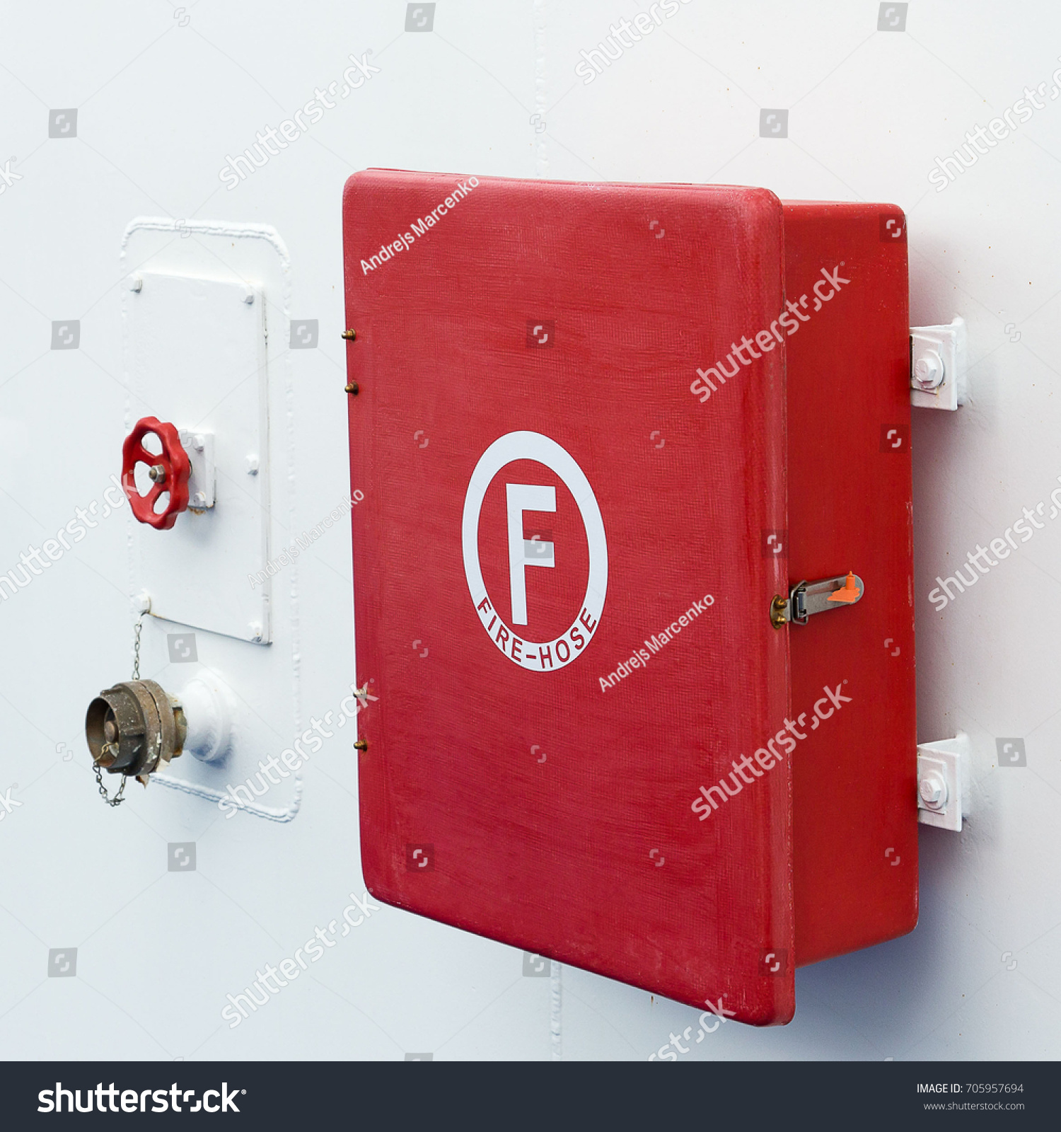 Red Box Storage Fire Hose On Stock Photo 705957694 - Shutterstock