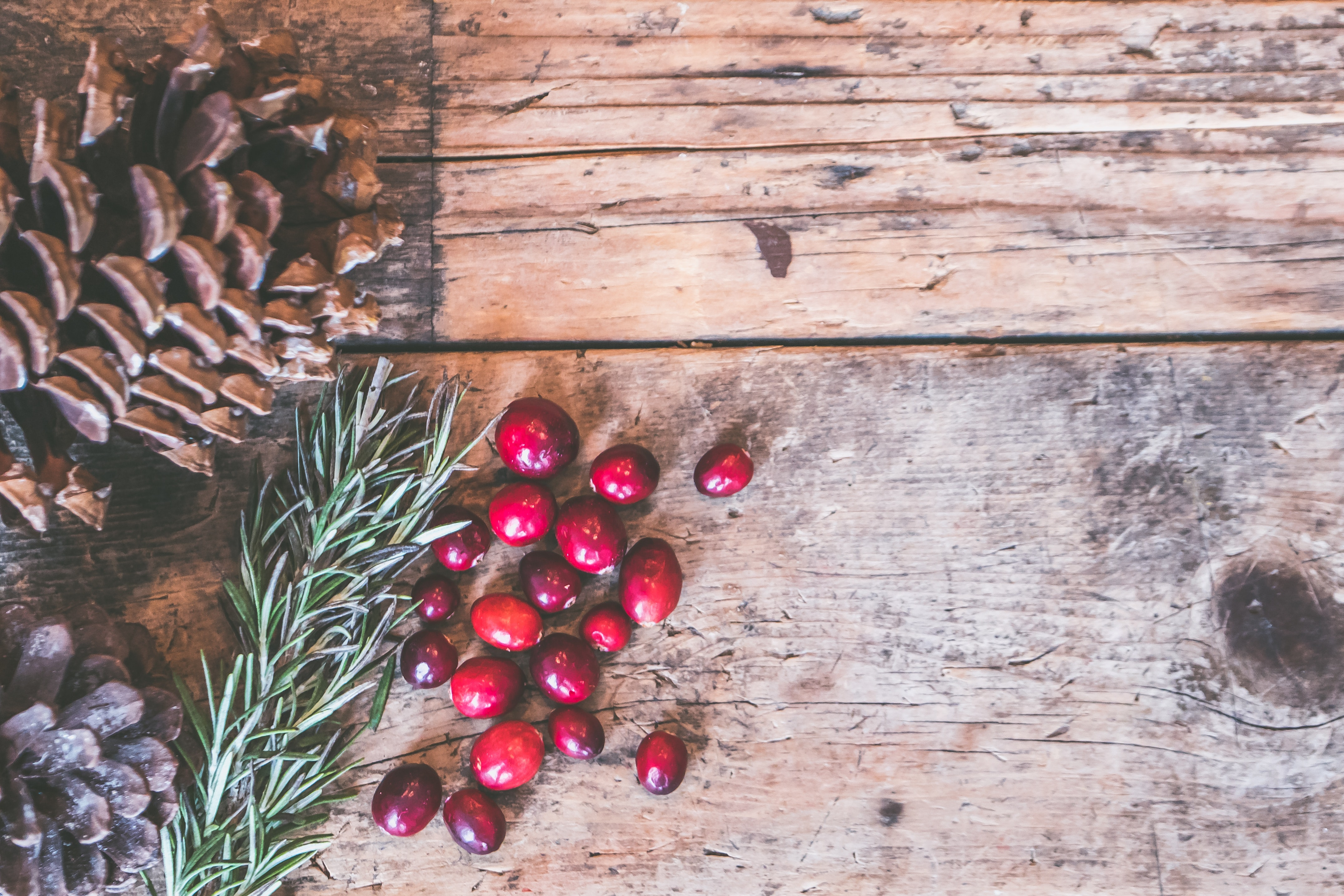Red Fruits on Table, Acorns, Rough, Wood, Winter, HQ Photo
