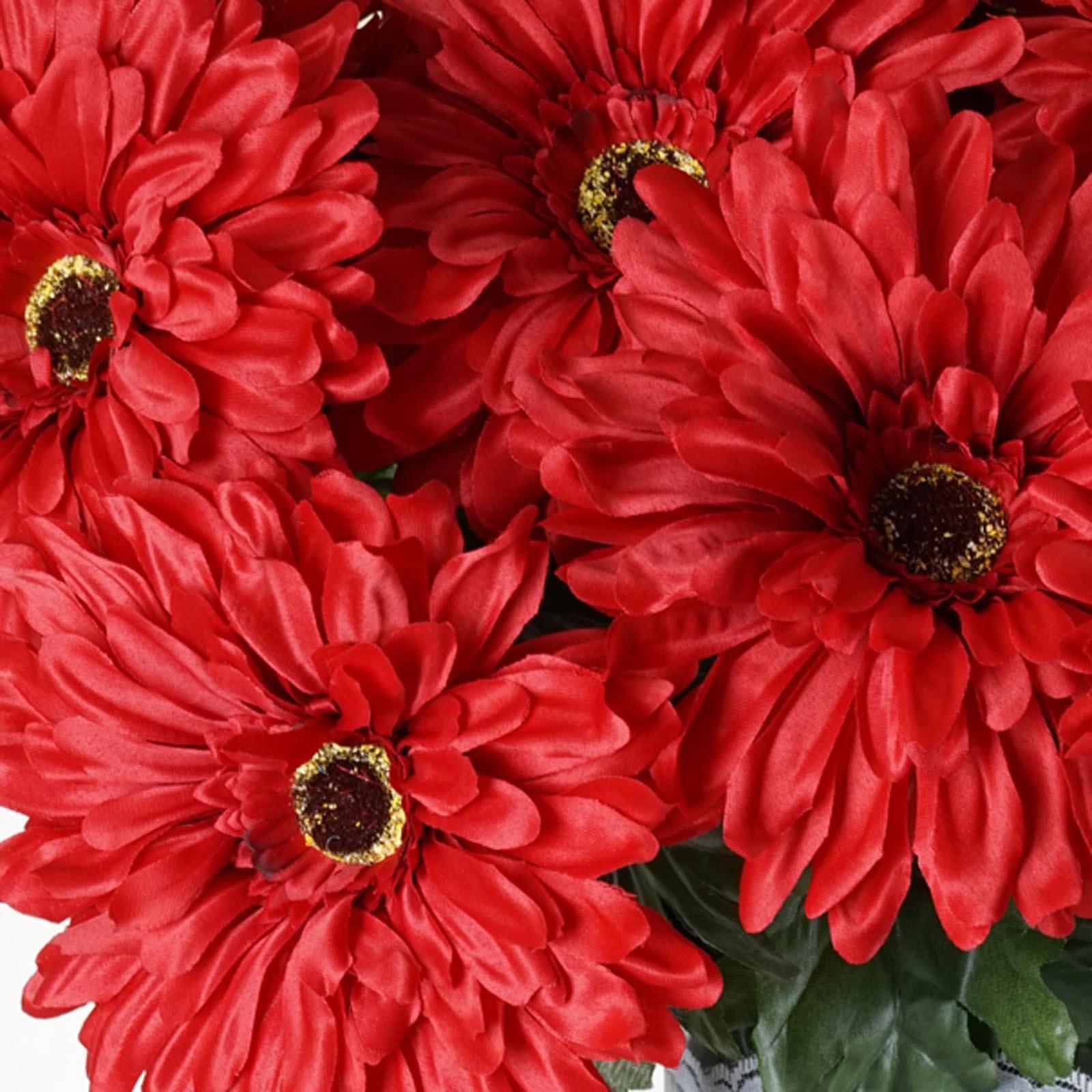 28 Gerbera Daisy Flowers Bush - Red | eFavorMart