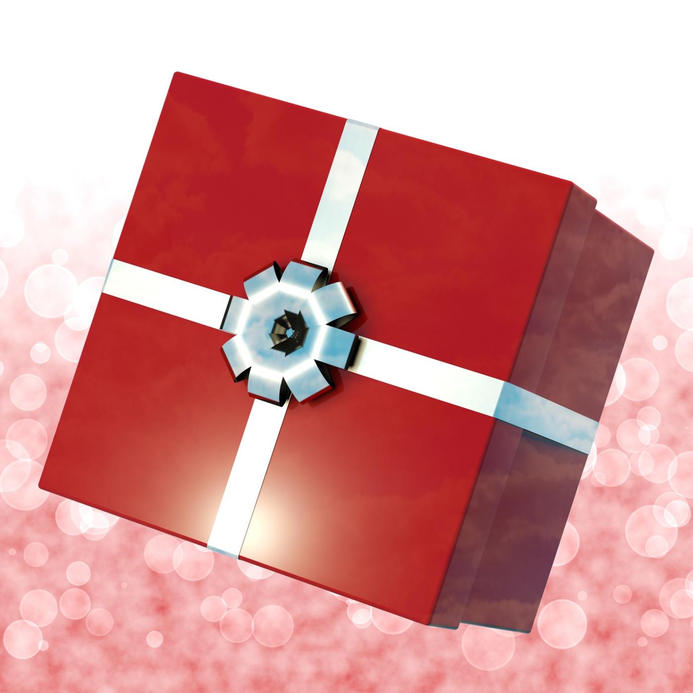 Red giftbox with bokeh background for girls birthday photo
