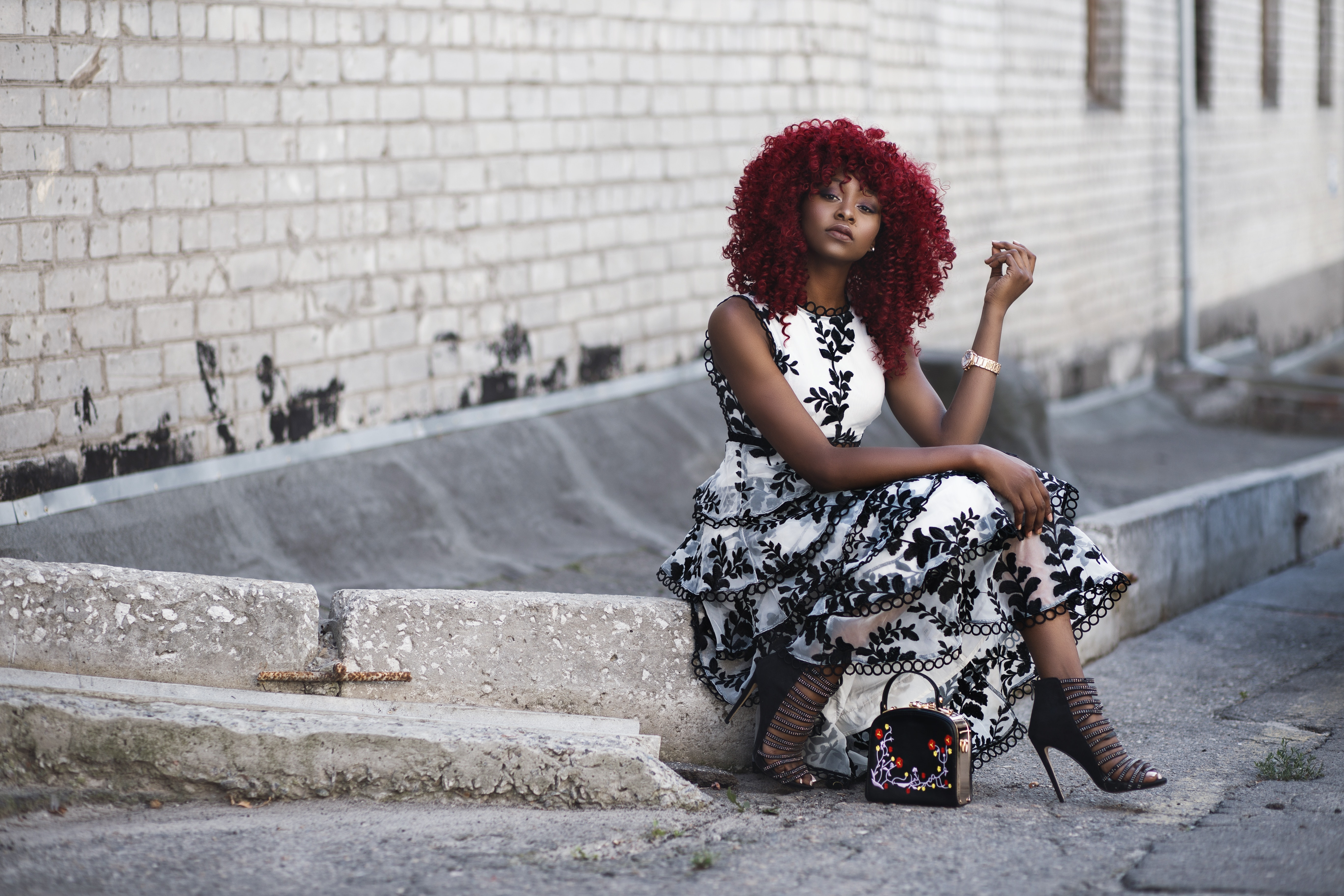 Red Haired Woman in White and Black Floral Sleeveless Maxi Dress, African, Red hair, Outside, Pavement, HQ Photo