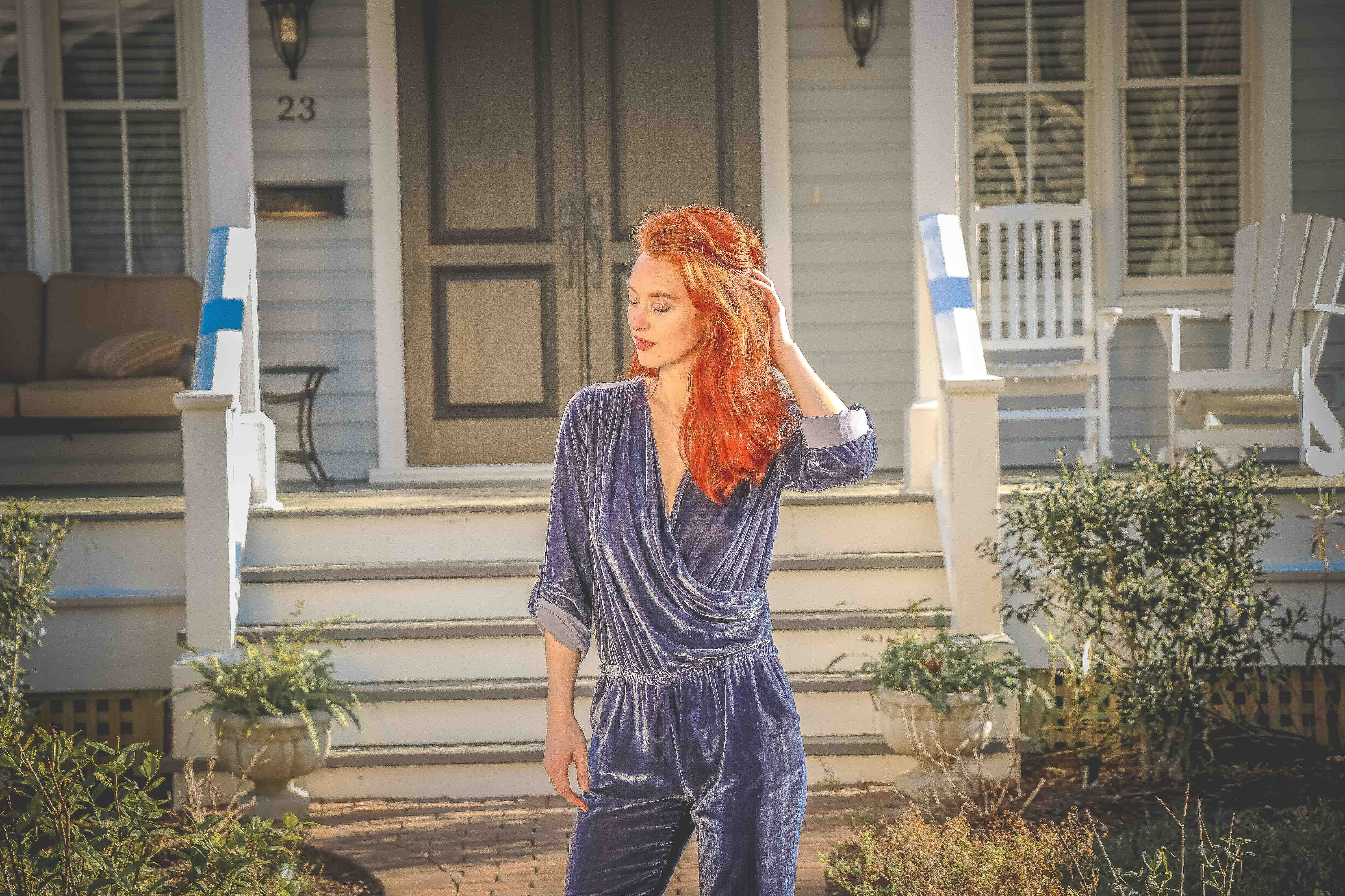 Red Haired Woman Wearing Blue Long-sleeve Jumpsuit, Adult, Person, Wear, Step, HQ Photo