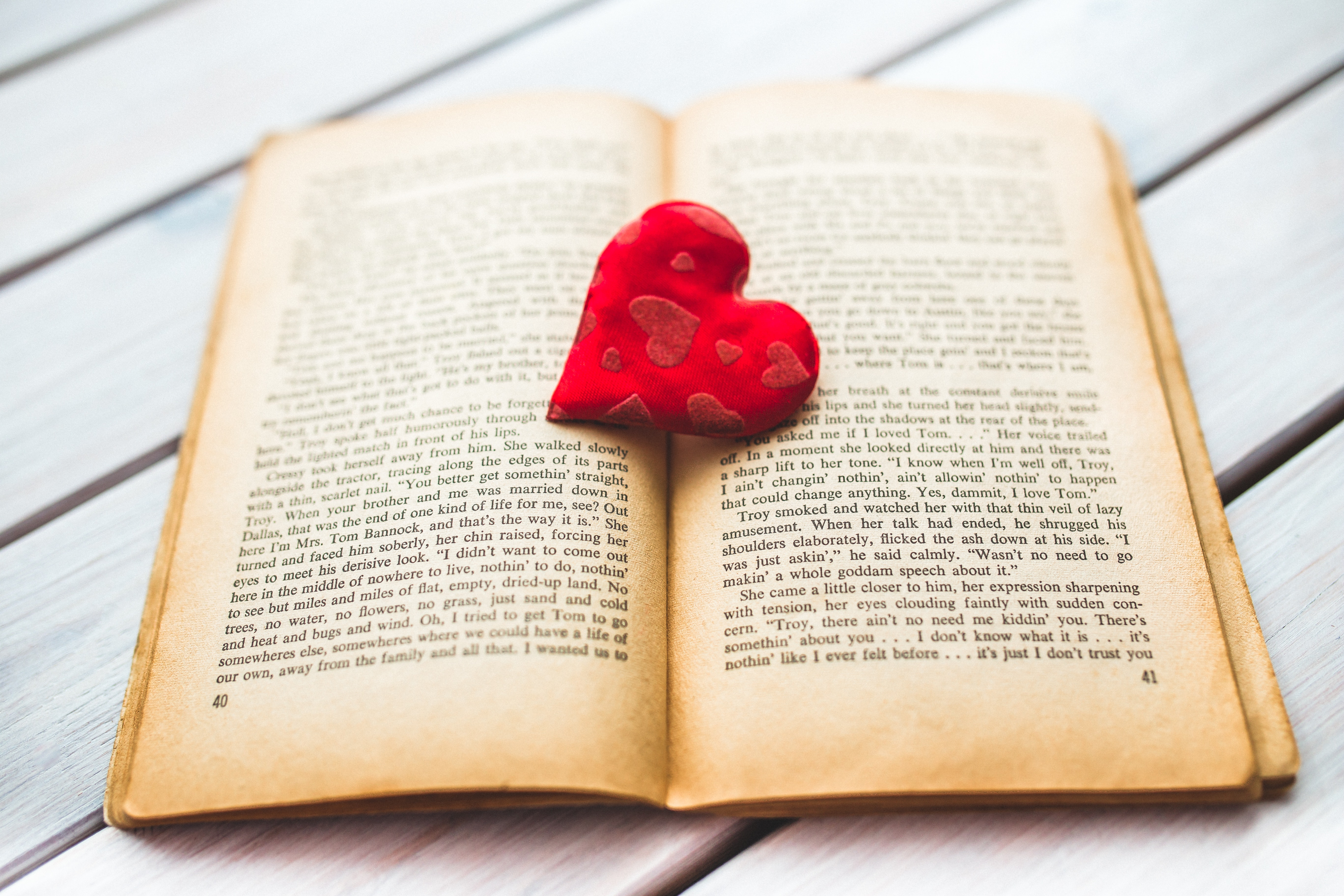 Red heart on a old opened book II, Book, Heart, Love, Nostalgic, HQ Photo