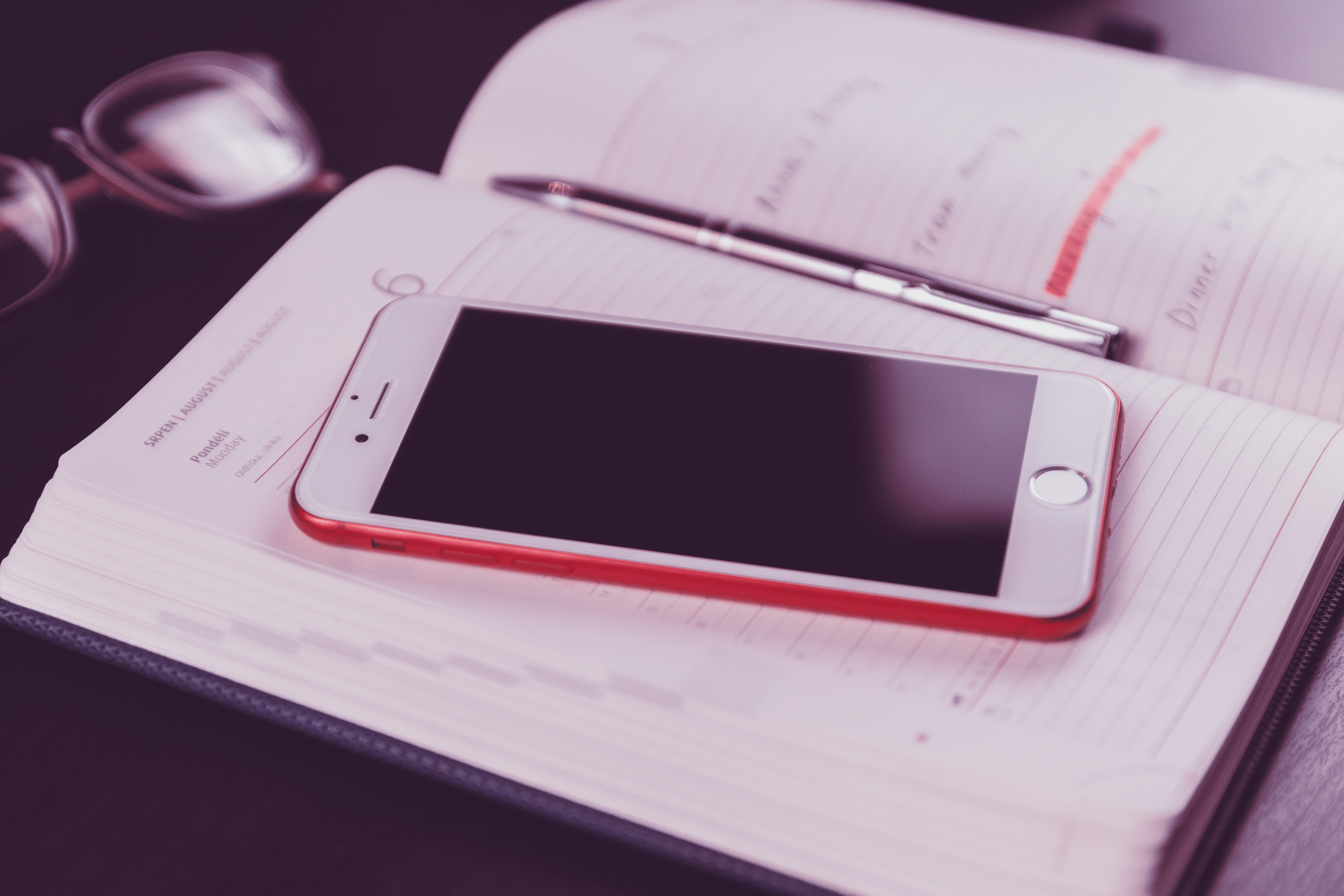 Red Iphone 7 on White Book Page, Black, Pen, Technology, Table, HQ Photo