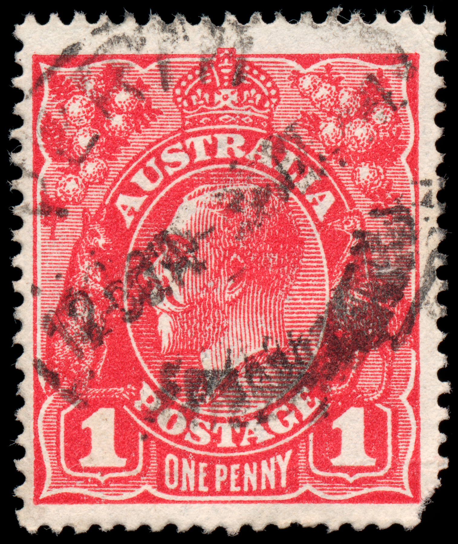 Red King George V Stamp, 1, Postmark, Res, Regal, HQ Photo