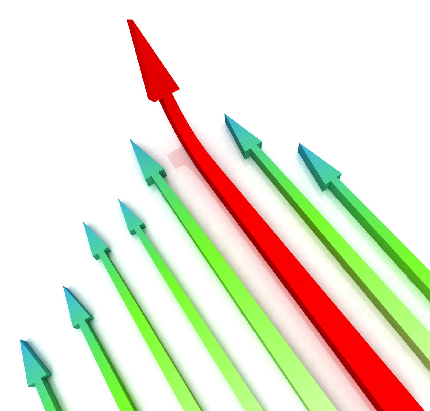 Red left arrow ahead shows growth photo