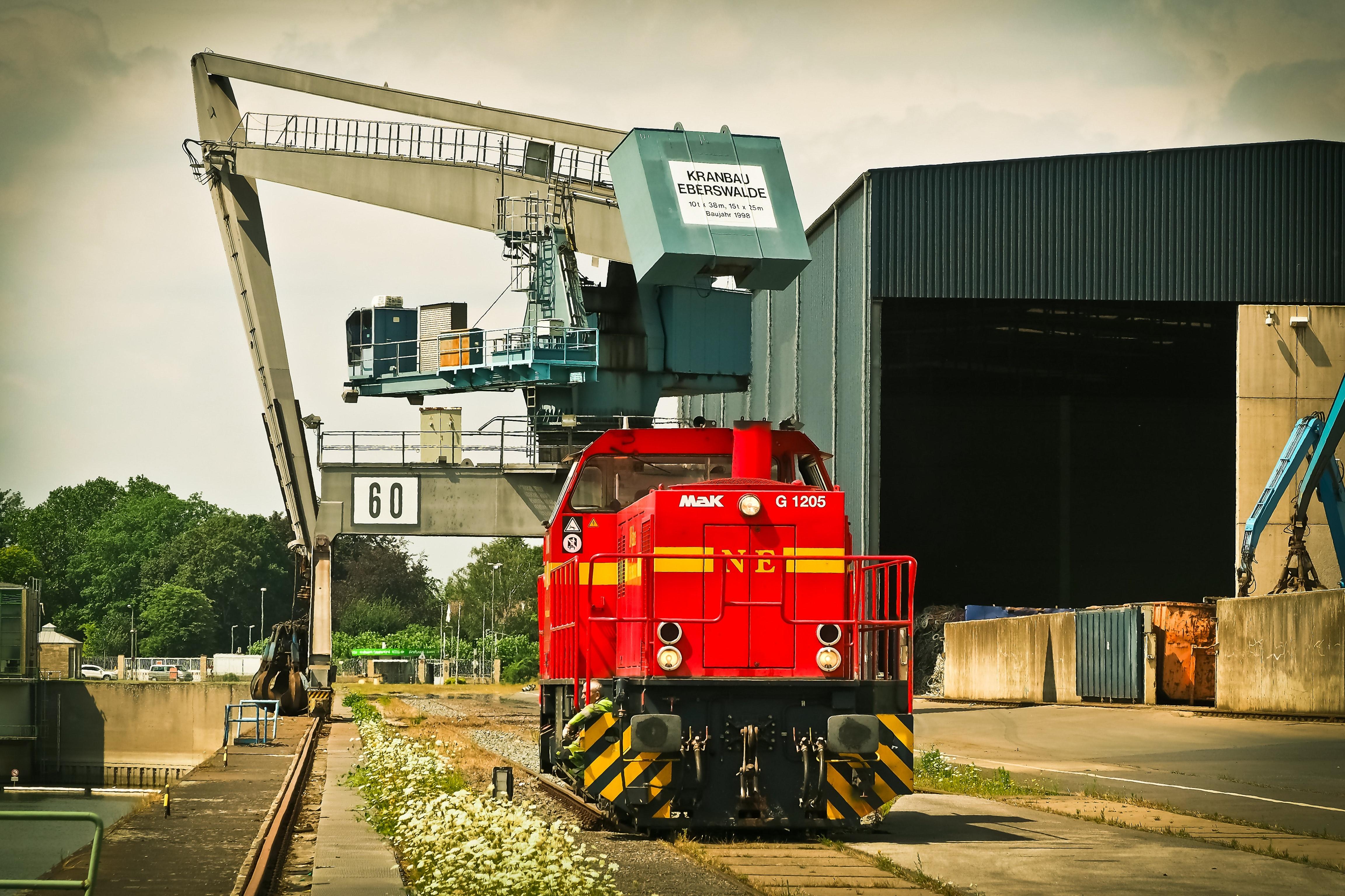 Red Mak Train on Brown Train Tracks, Building, Railway, Truck, Trees, HQ Photo