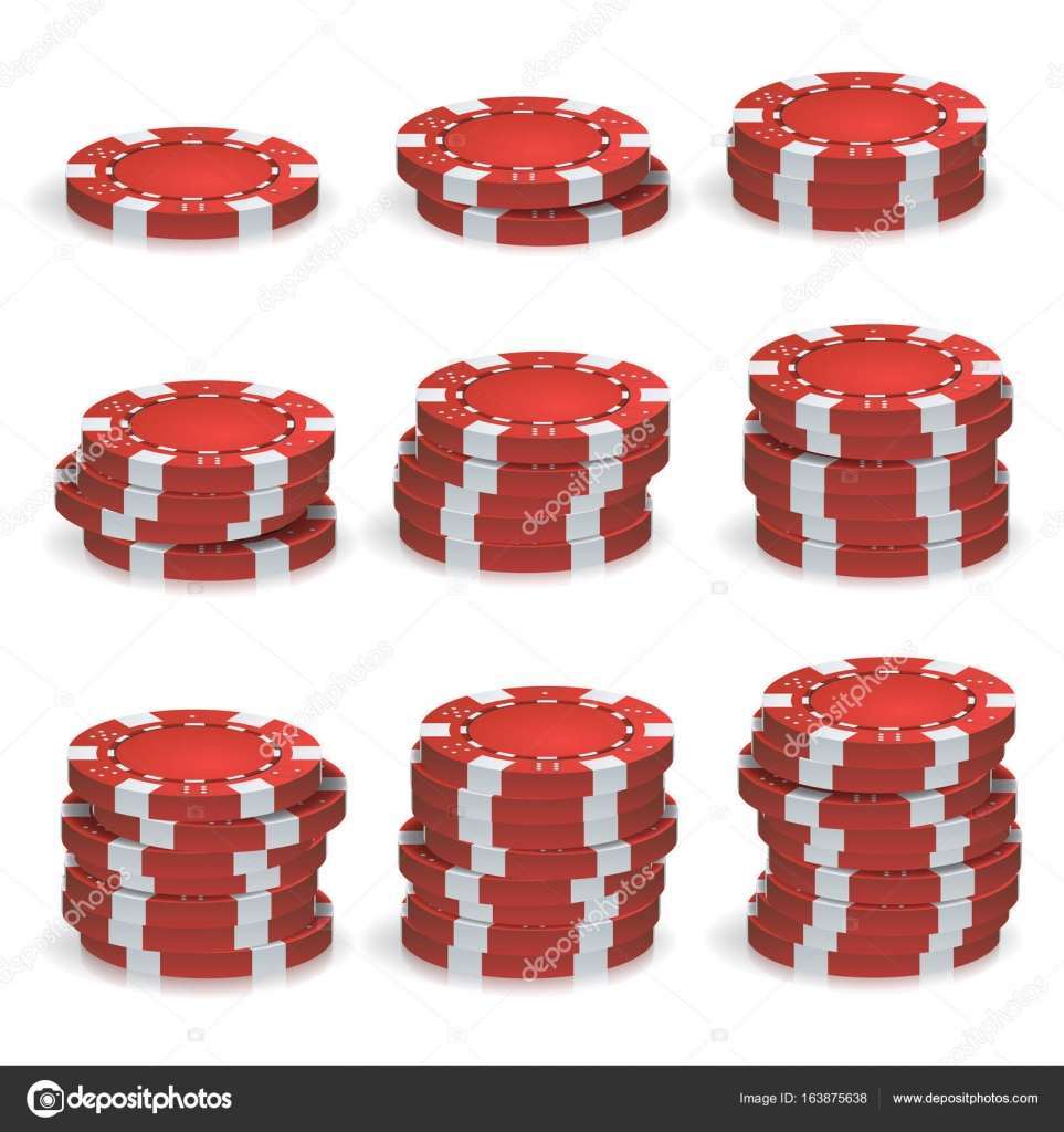 Red Poker Chips Stacks Vector. 3D Realistic Set. Plastic Poker ...