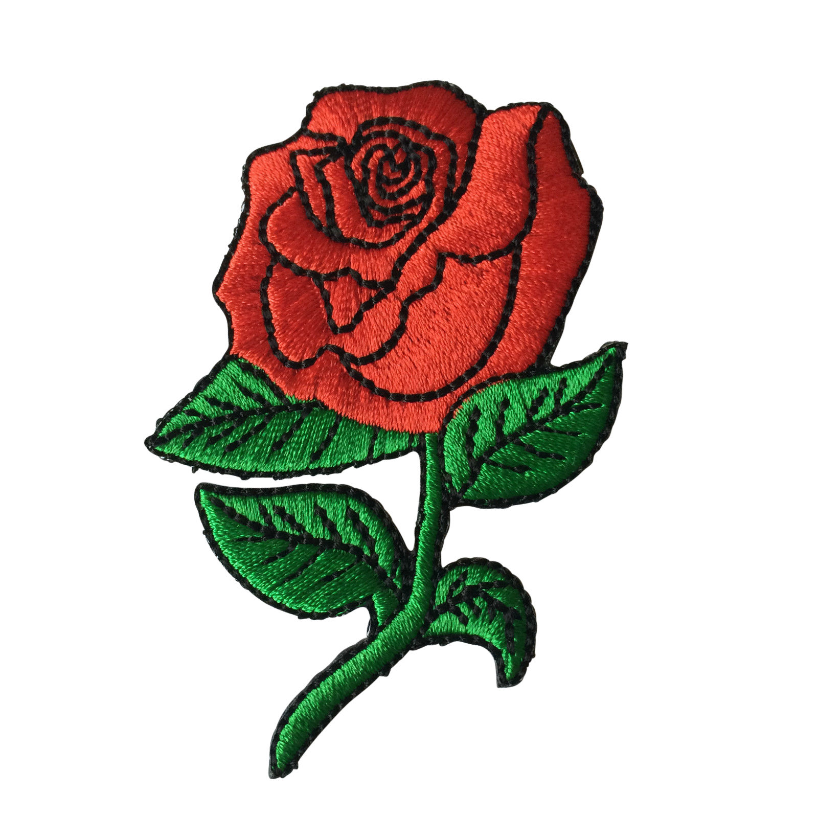 Embroidered Red Rose Sew or Iron on Patch Biker Patch | eBay