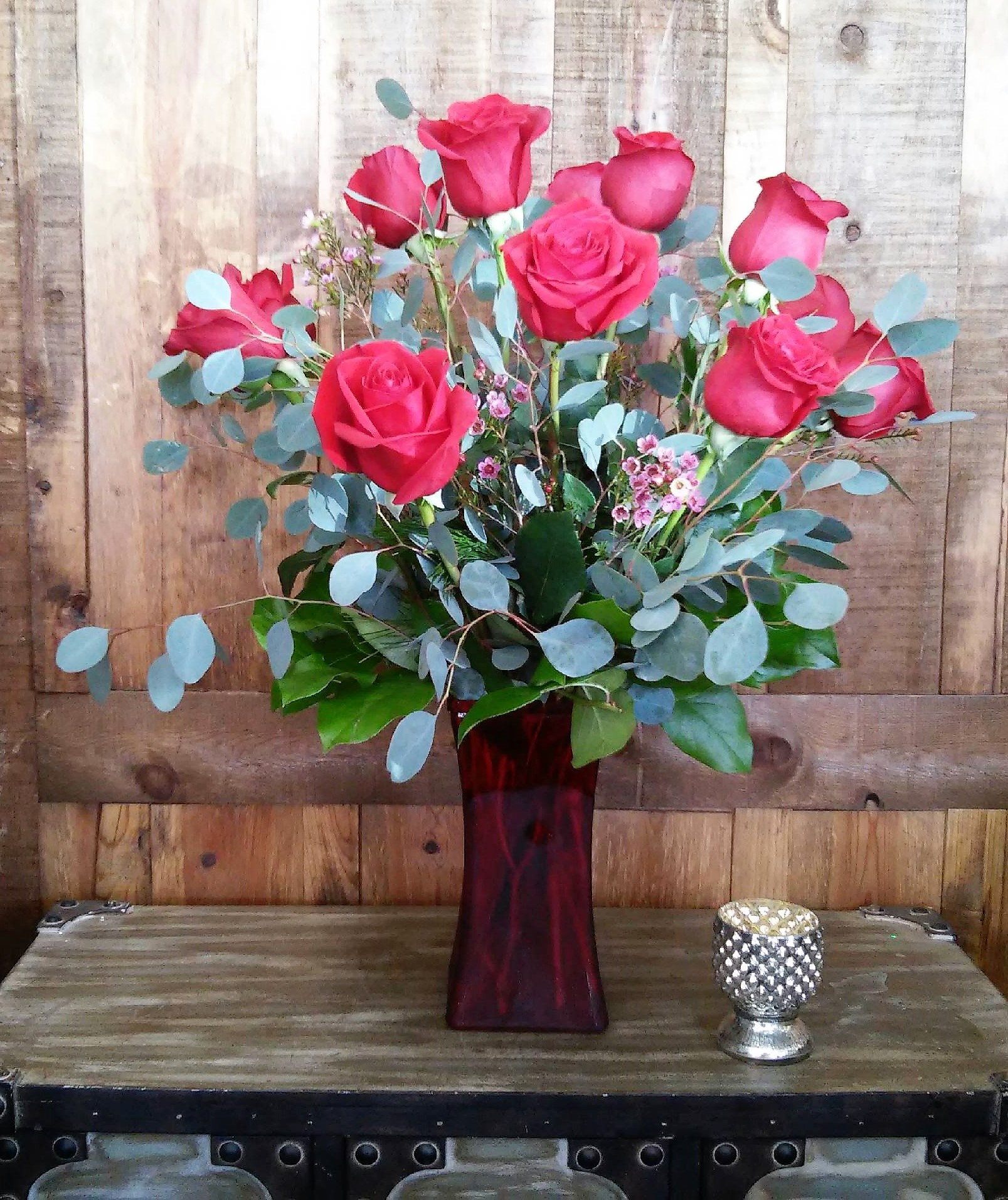 One Dozen Red Roses In Red Vase in Las Vegas, NV   Windmill Floral ...