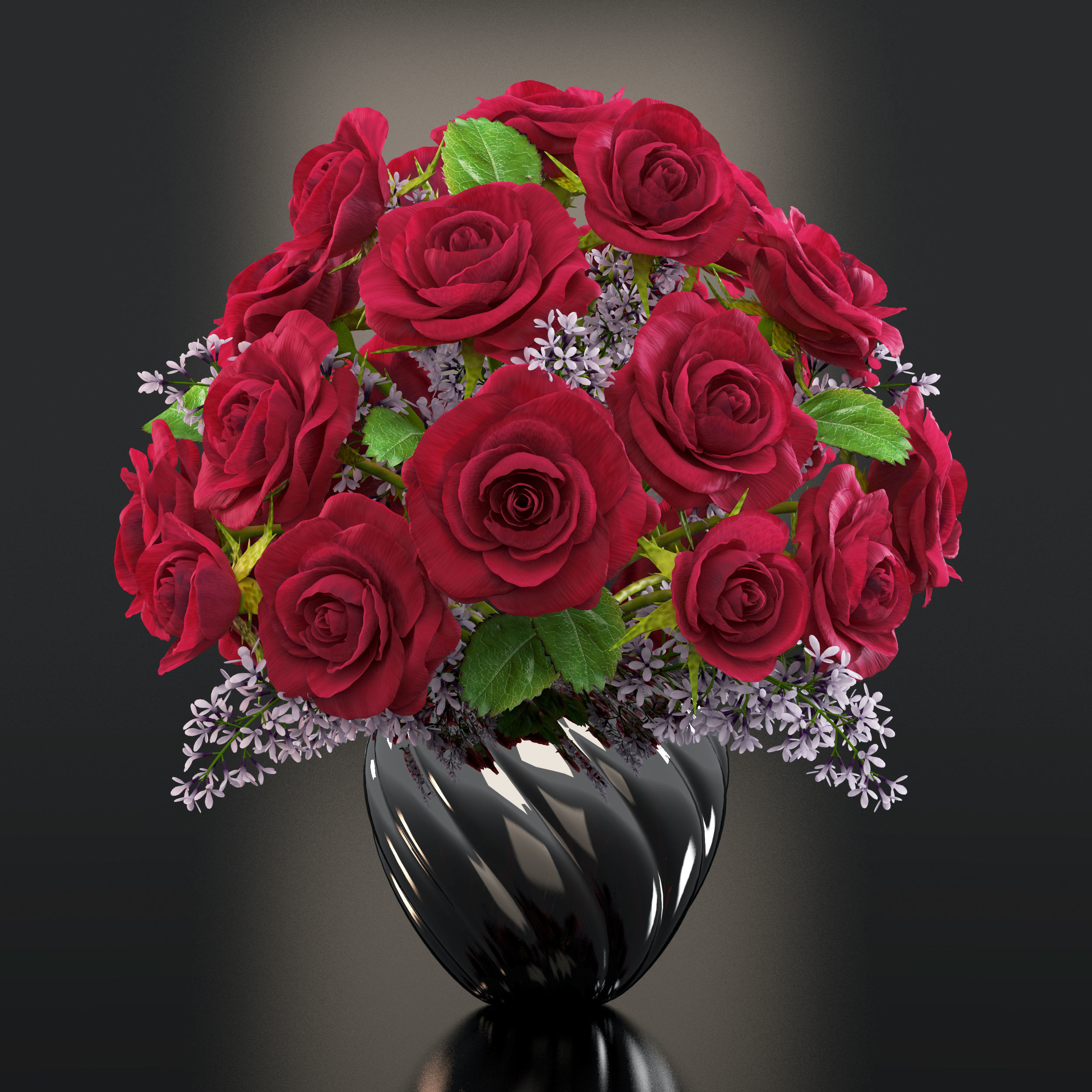 RED ROSES 3D model   CGTrader