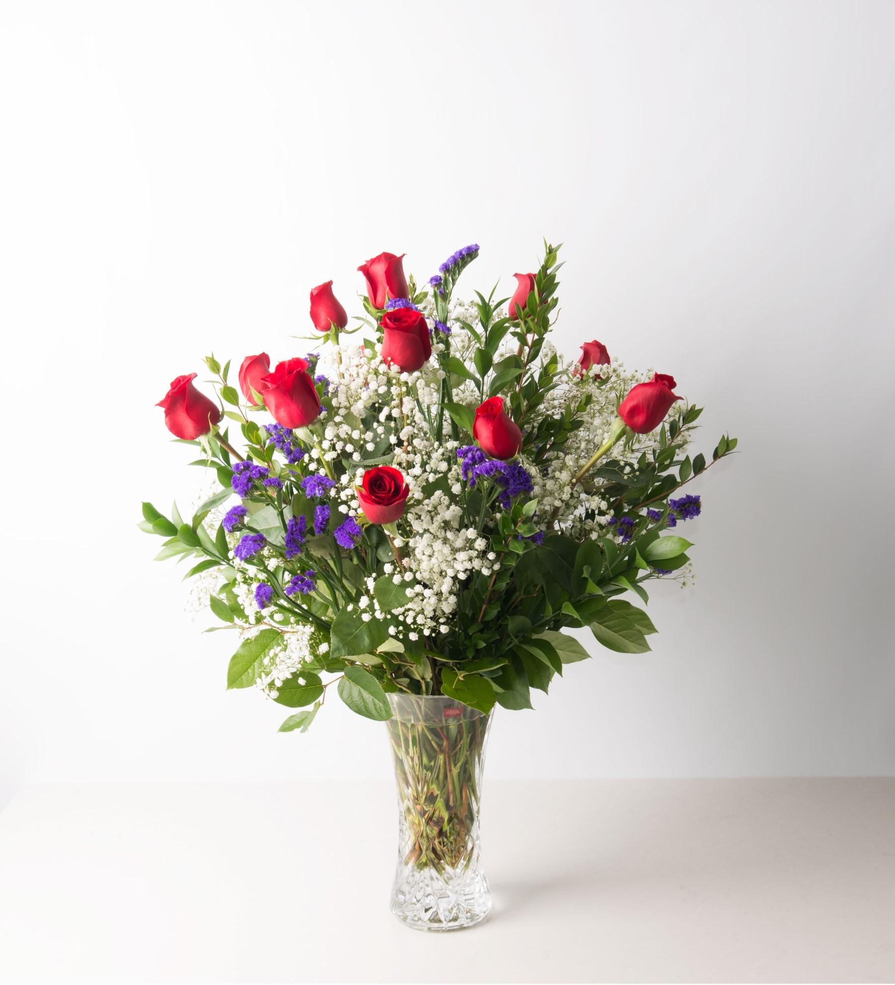Ultimate Dozen Red Roses in Crystal Vase - Luxe Line - Bartz Viviano ...