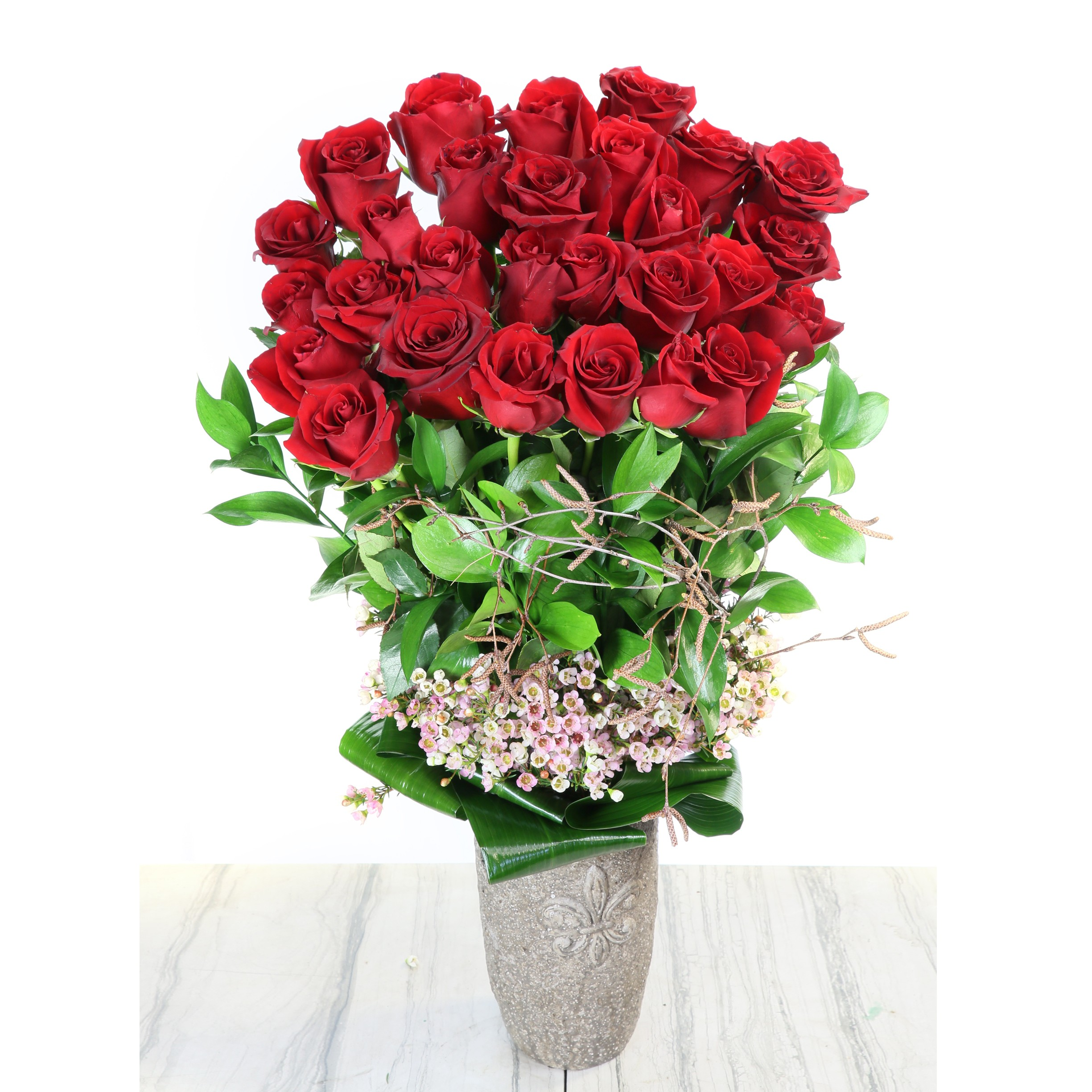 2 Dozen Long Stem South American Red Roses In A Vase in Beverly ...