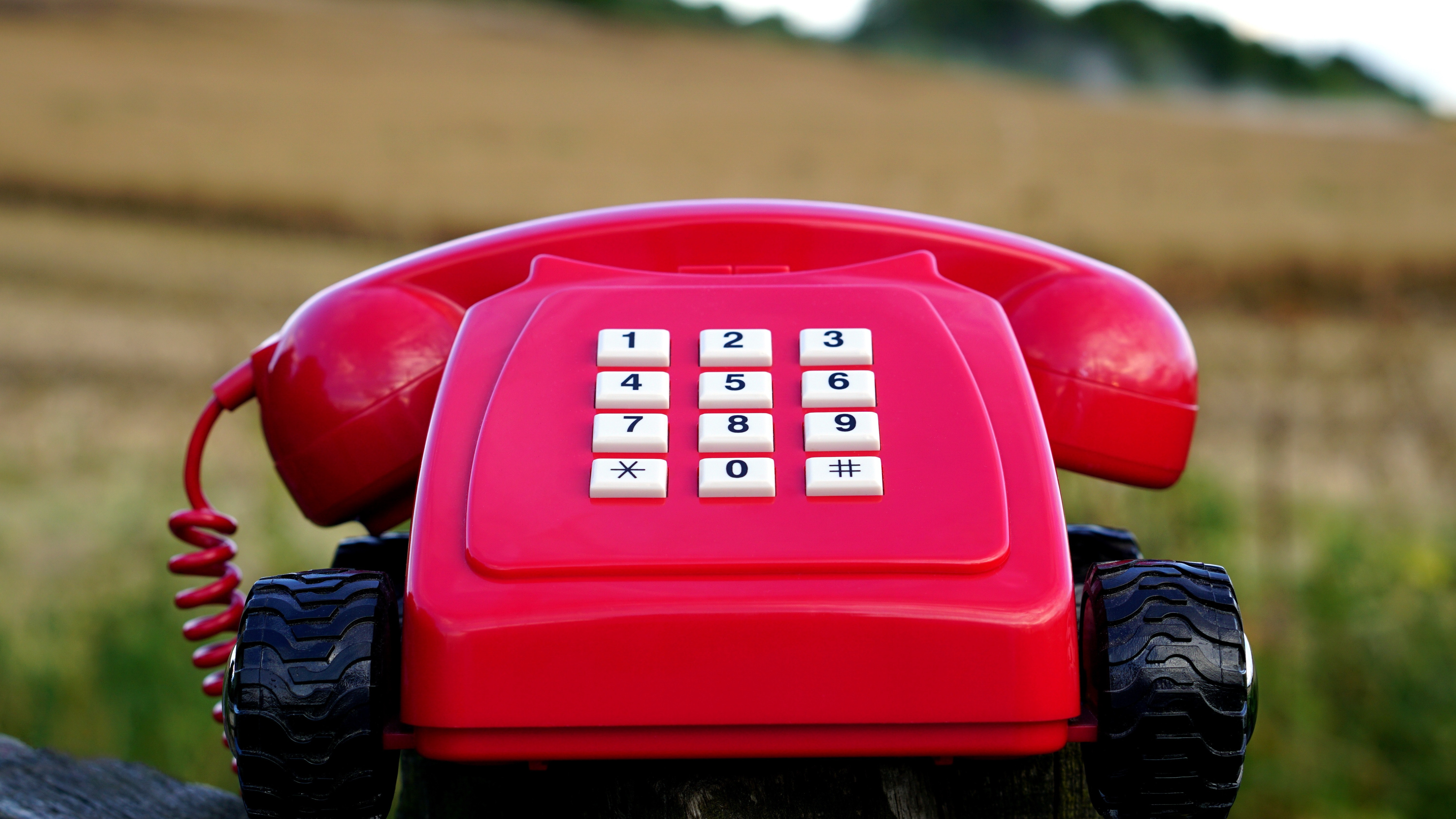 Red rotary phone with black wheels near brown grasses during day time photo
