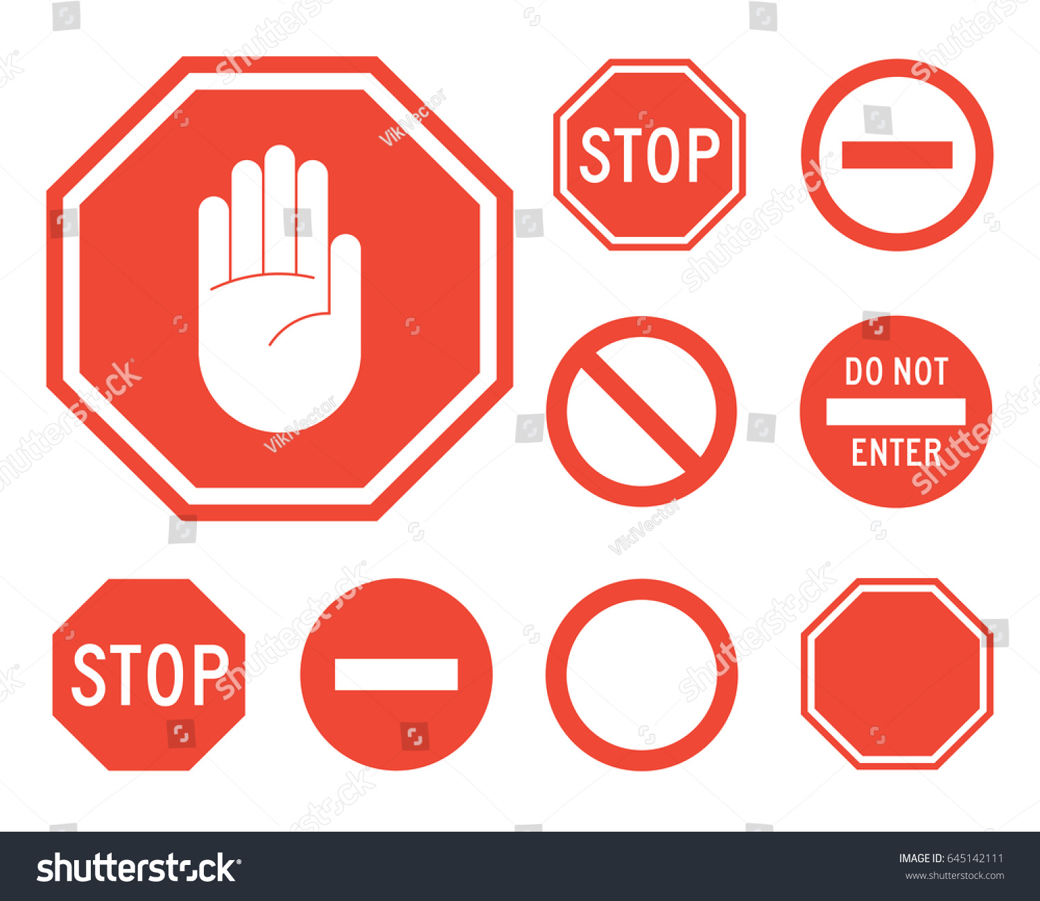 Stop Signs Collection Red White Traffic Stock Vector 645142111 ...
