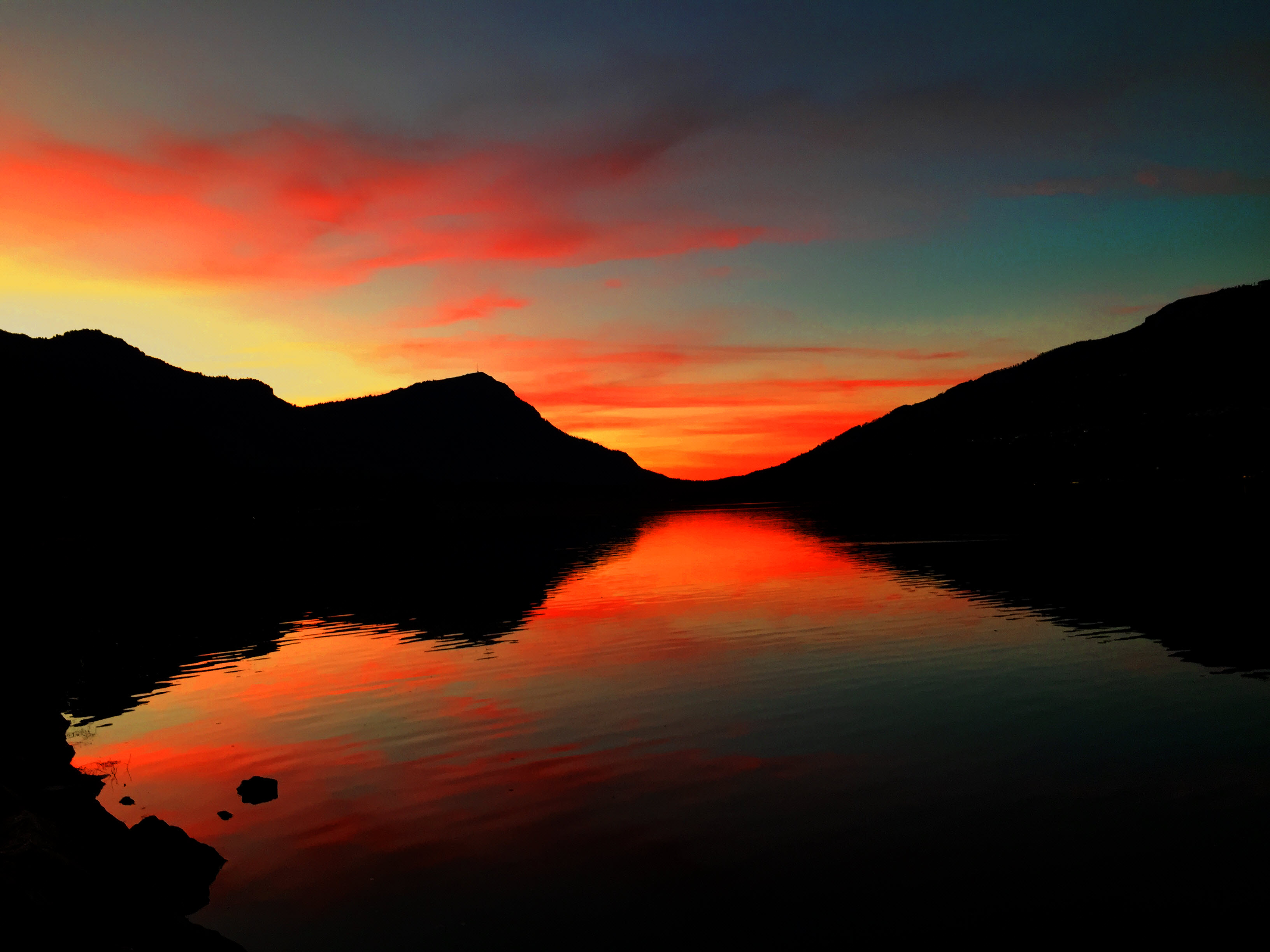 Red Sunset behind Rigi | MCU on Eclipse