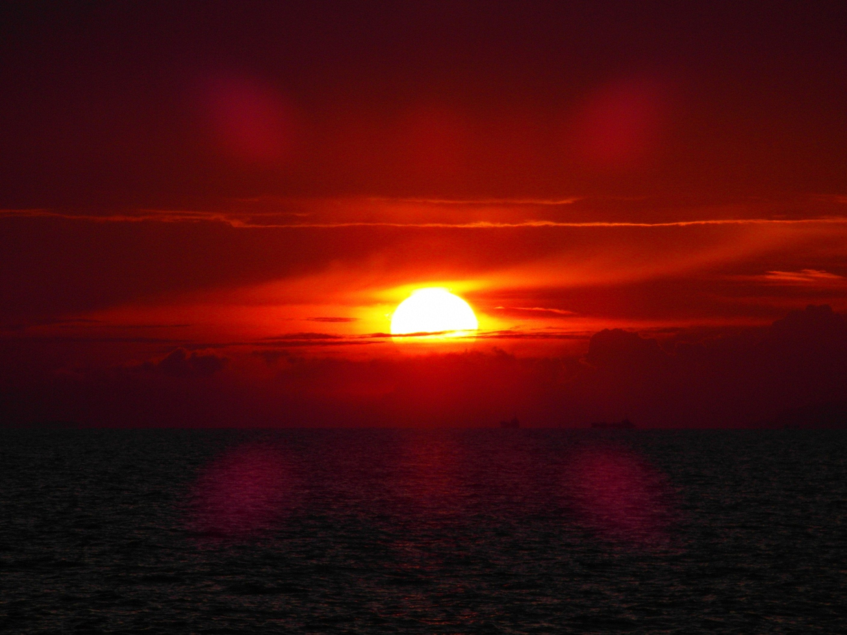 Red Sunset, Wallpaper, Sea, Vacation, The, HQ Photo