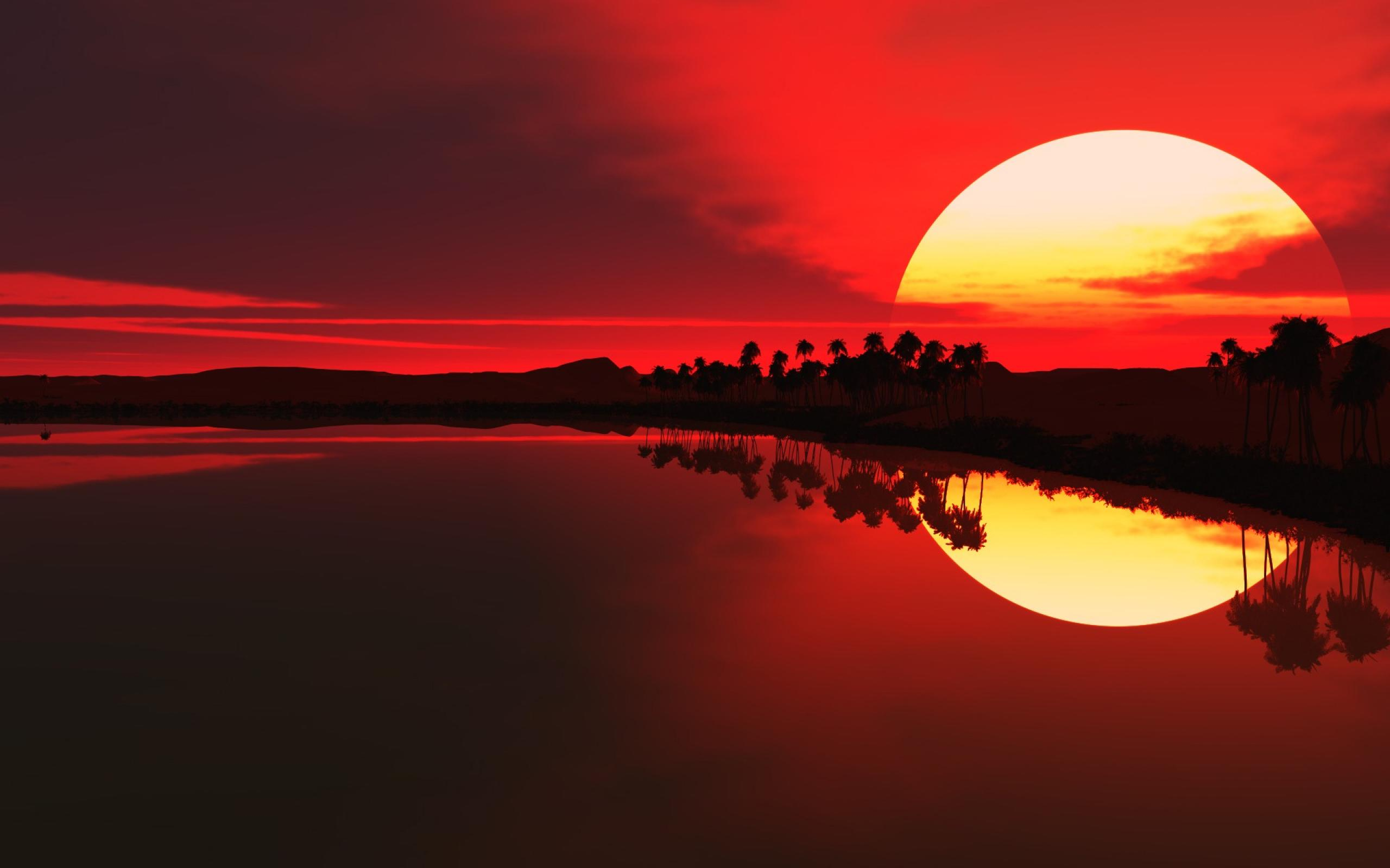 Beautiful Red Sunset Over Lake Desktop Wallpaper