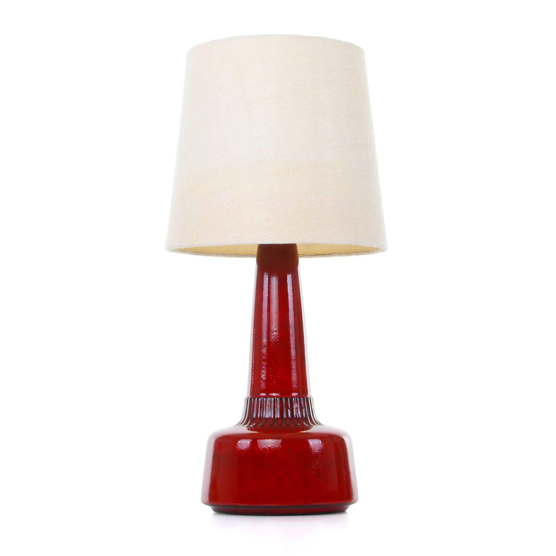 Red Table Lamp by Einar Johansen, Soholm, 1960s, Danish Modern Table ...