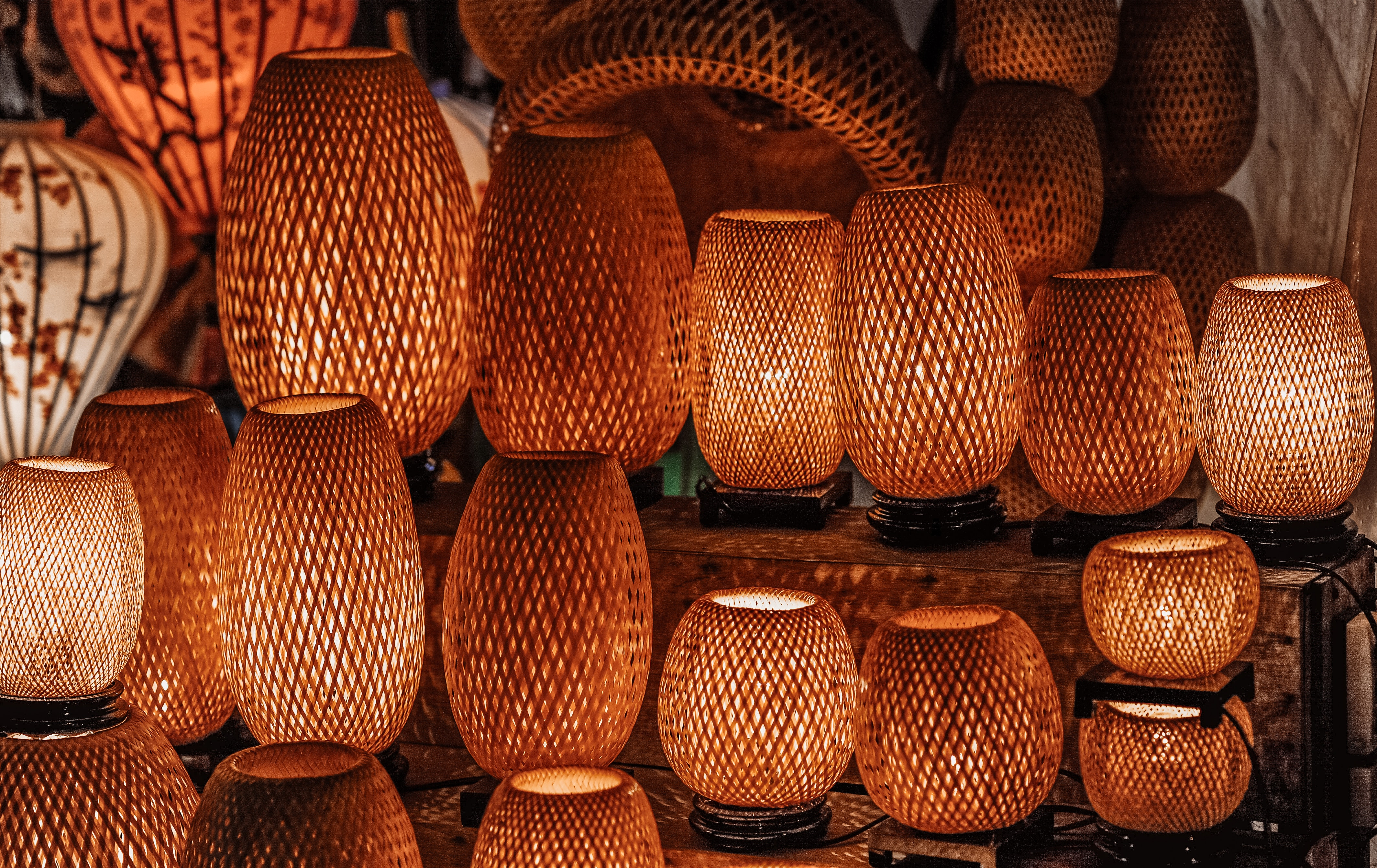 Red Table Lamps, Art, Lamps, Wood, Traditional, HQ Photo
