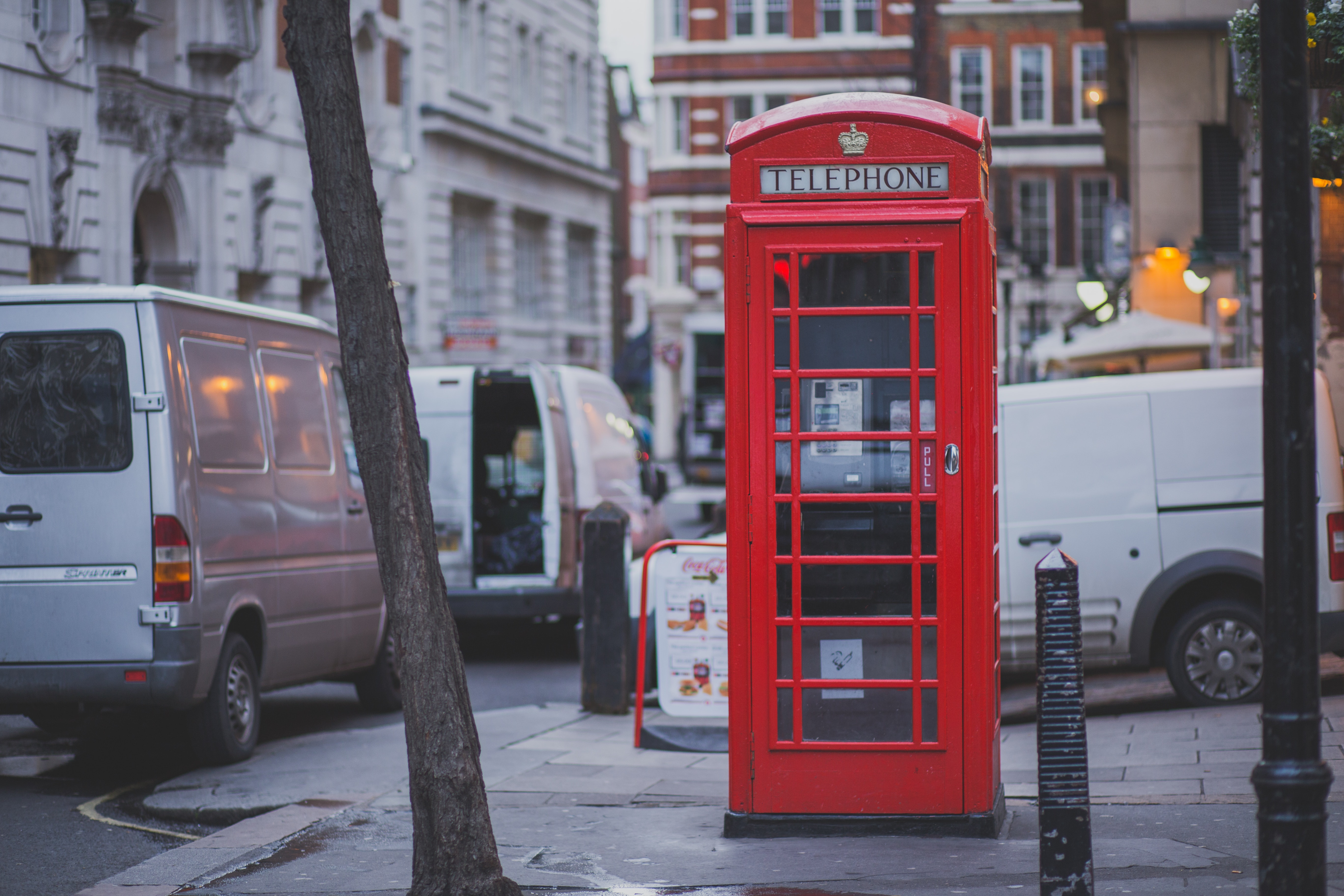 Red Telephone Shop Beside Brown Tree, Cars, Pavement, Phone booth, Street, HQ Photo