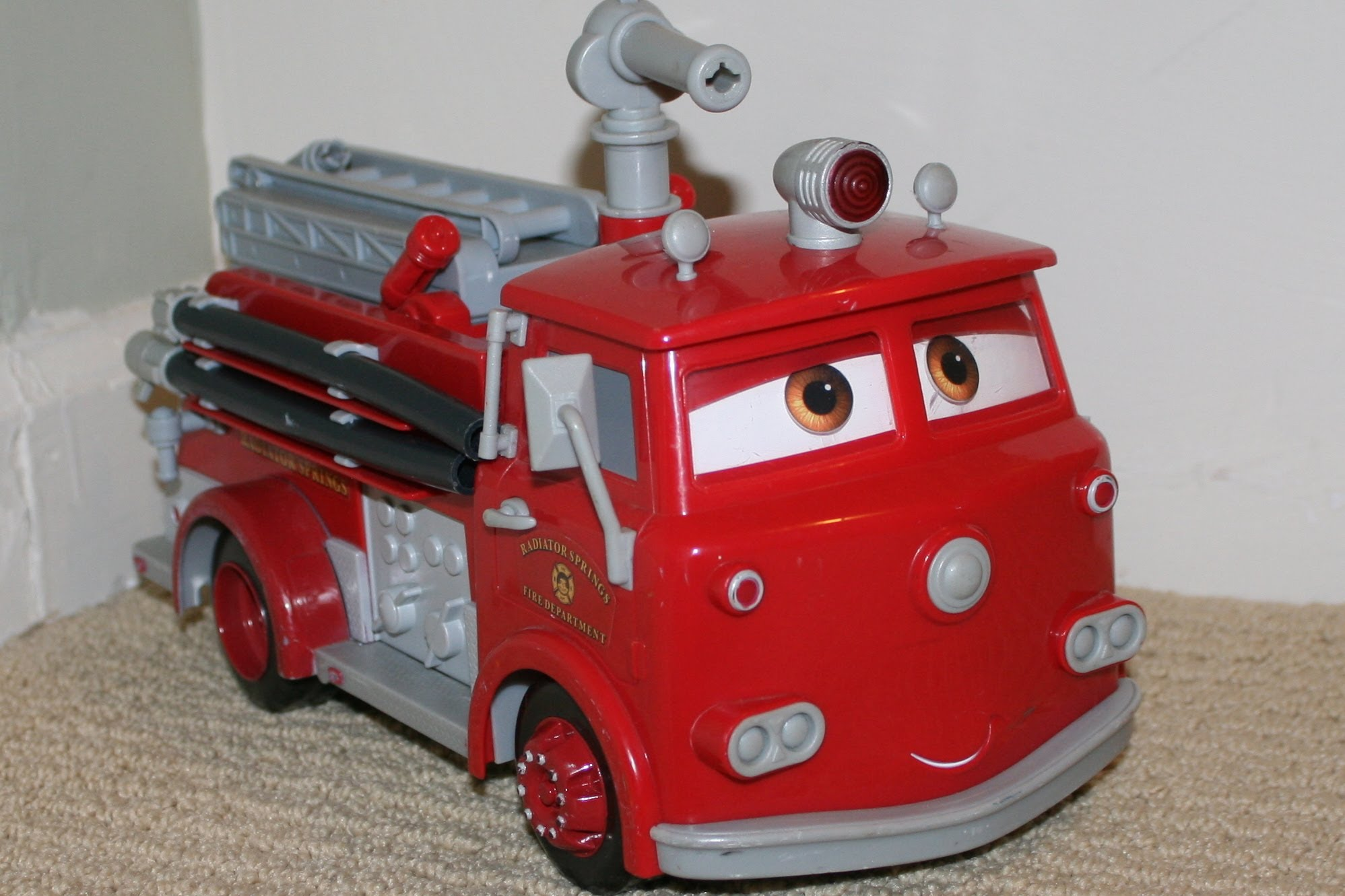 Disney Car Red Fire Truck Toy with Lightning McQueen by ...