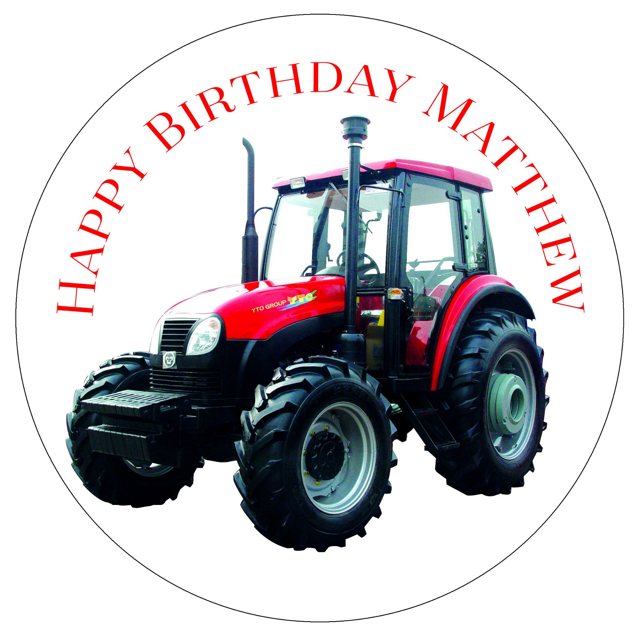 Red Tractor Edible Cake Topper