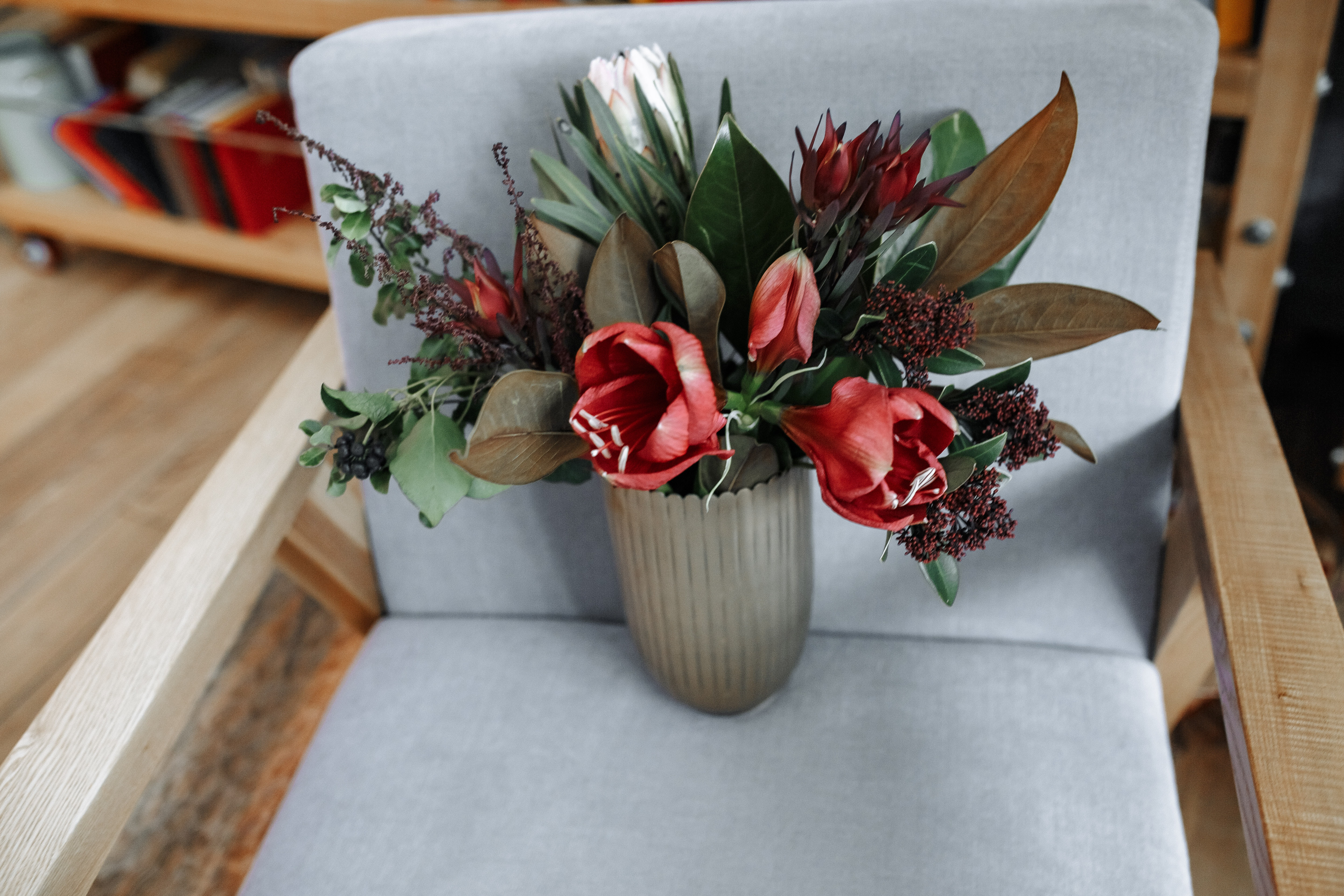 Red Tulip Flowers in Vase on Armchair, Chair, Modern, Wood, Vase, HQ Photo