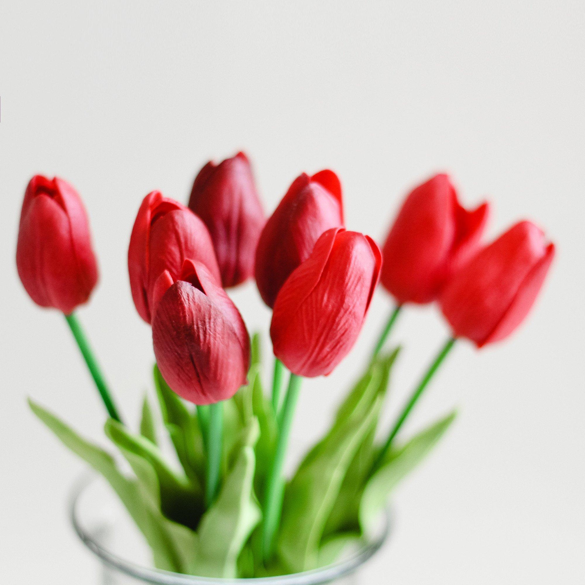 9pcs - 36pcs Mini Red Tulips Real Touch Silk Flowers - Lana Byanca ...