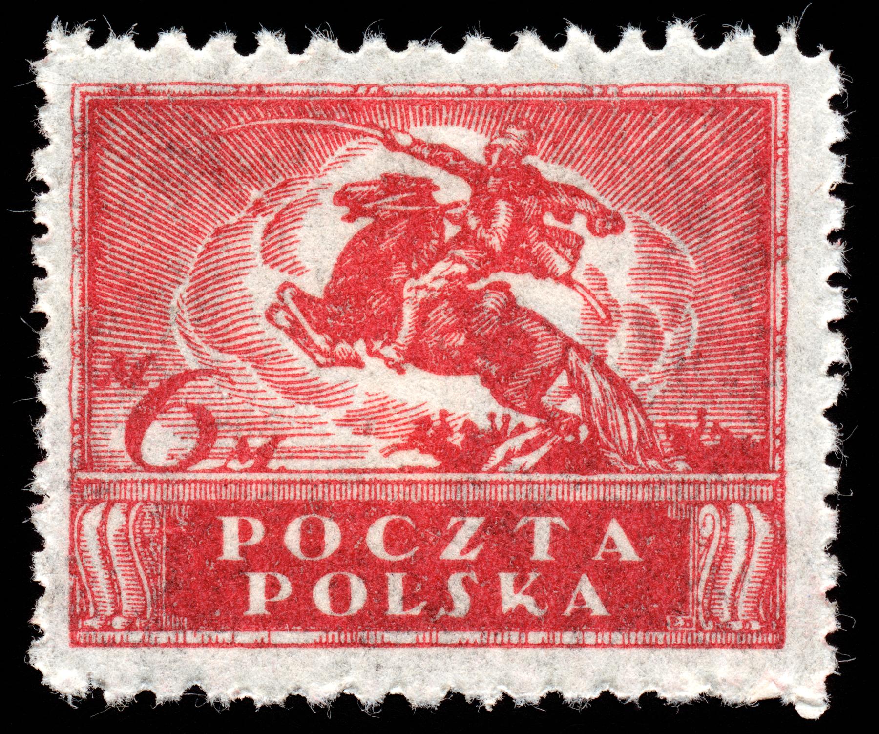 Red uhlan regiment stamp photo
