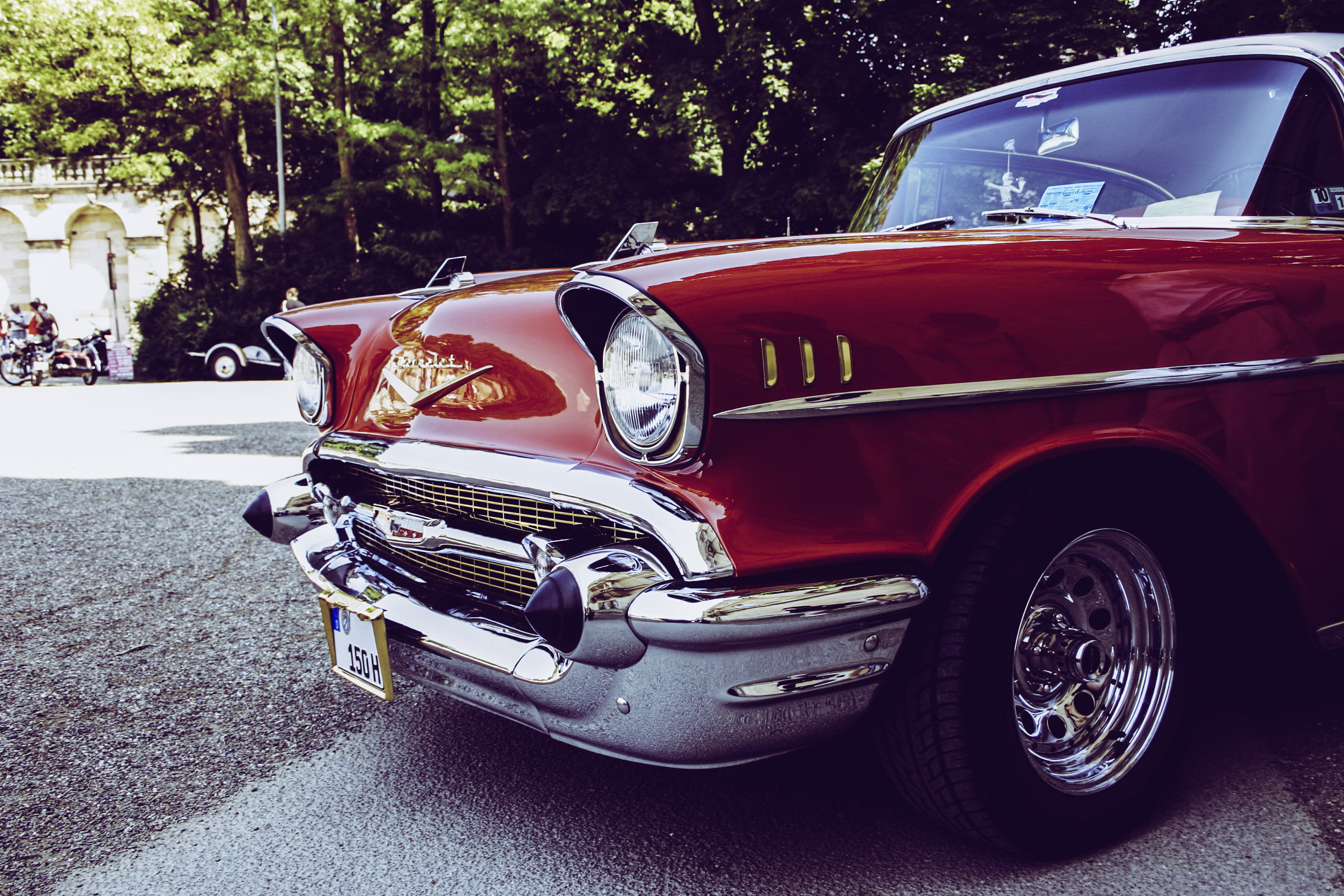 Red and Gray Vintage Car on Gray Concrete Road during Daytime HD ...