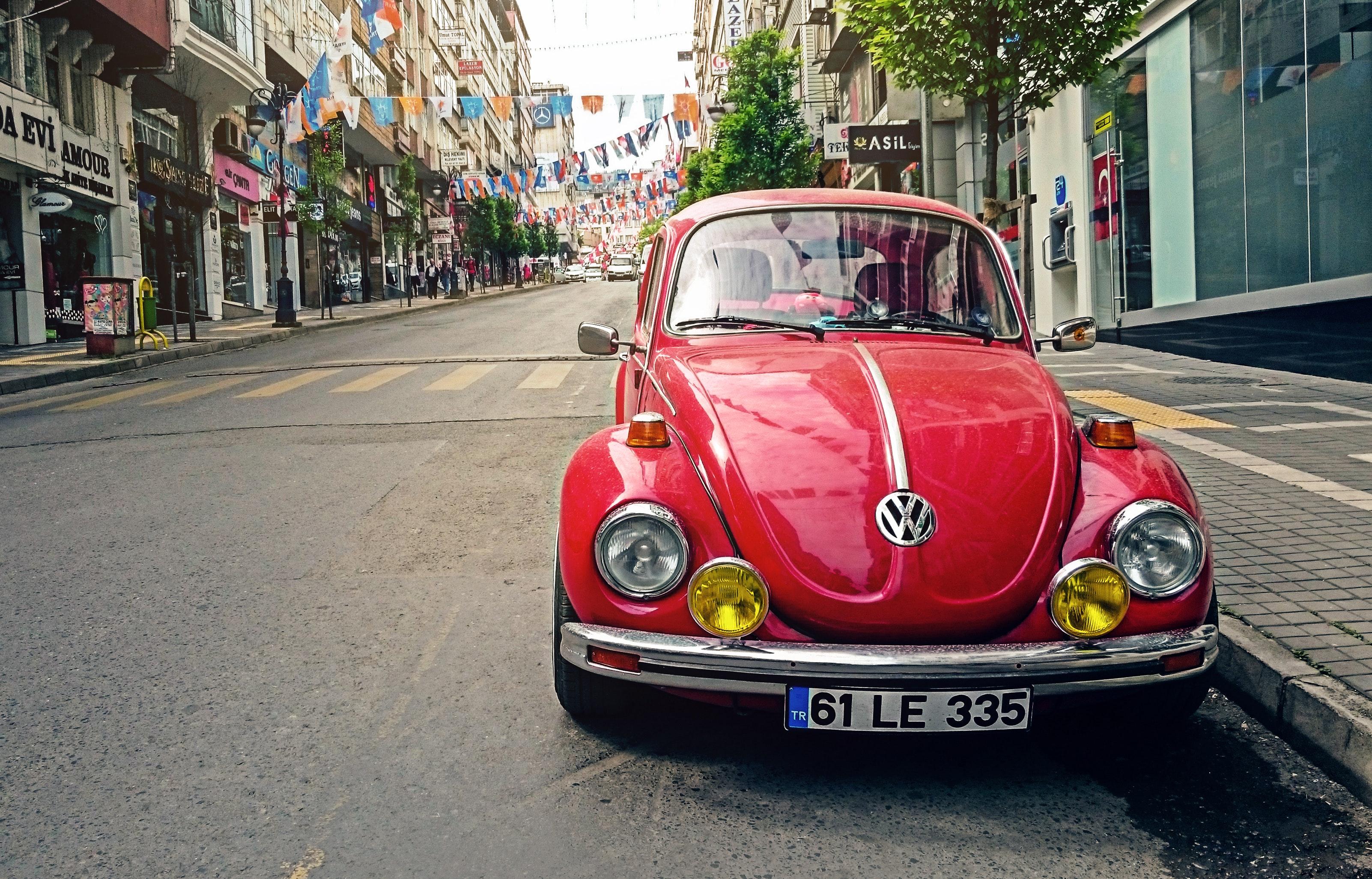 Red Volkswagen Beetle Parked at Road Side Near Pedestrian Lane, Automotive, Sidewalk, Volkswagen, Vintage, HQ Photo