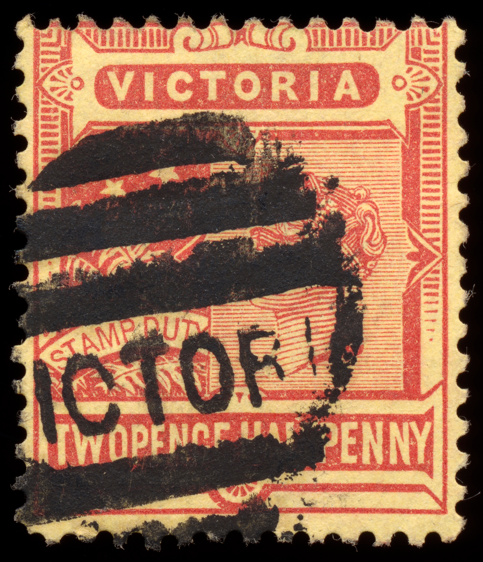 Red-yellow queen victoria stamp photo
