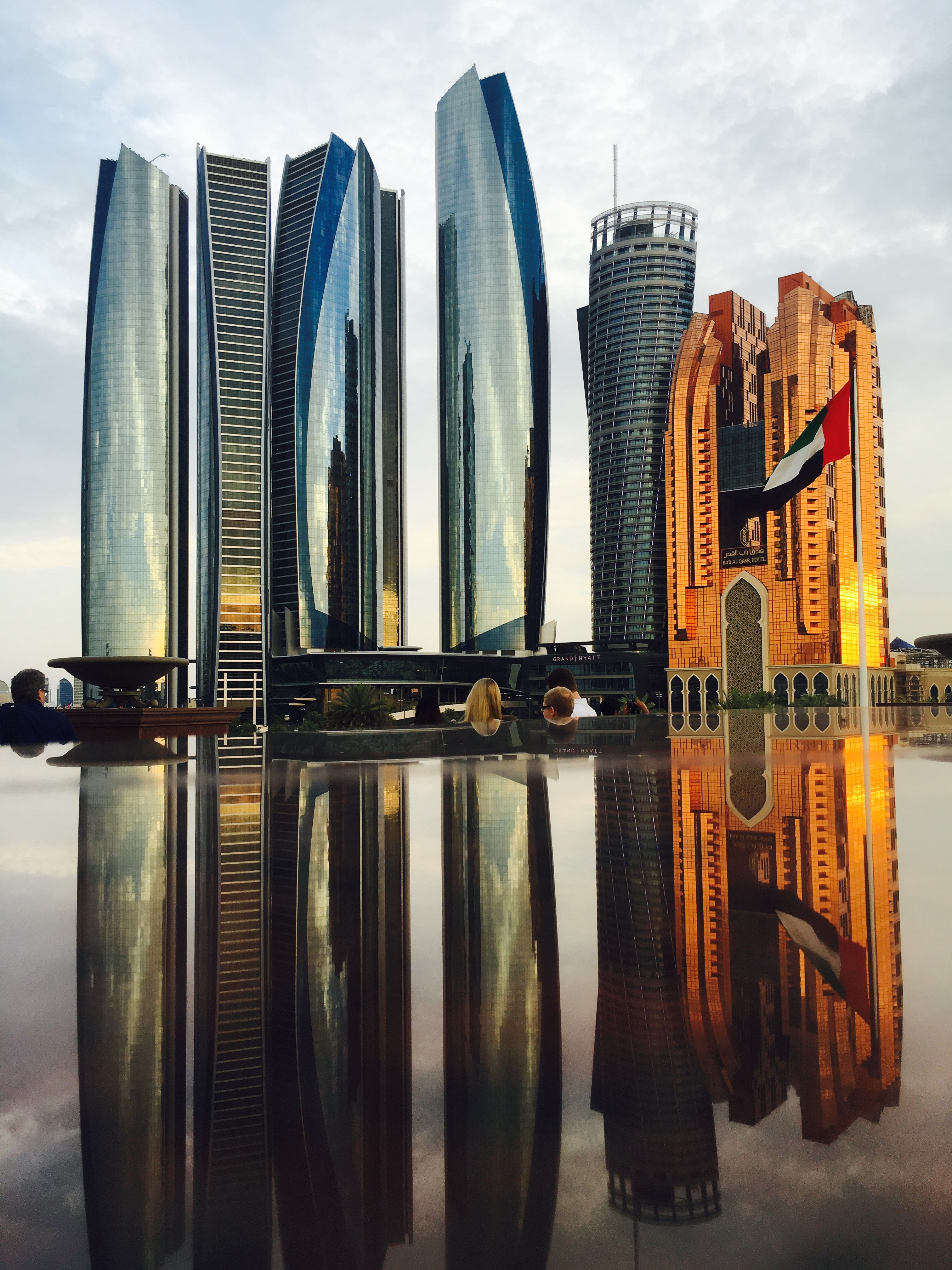Reflection of skyscrapers in city photo