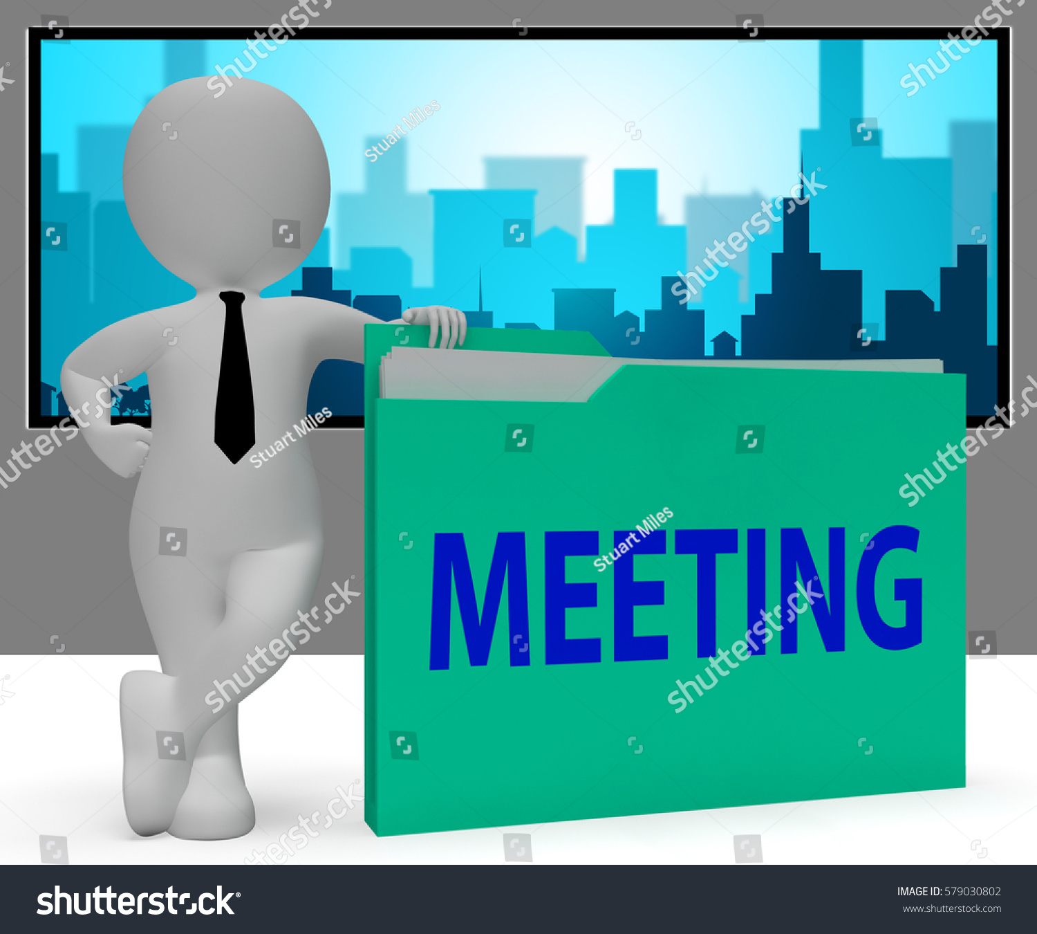 Meeting Folder Character Showing Discuss Meetings Stock Illustration ...