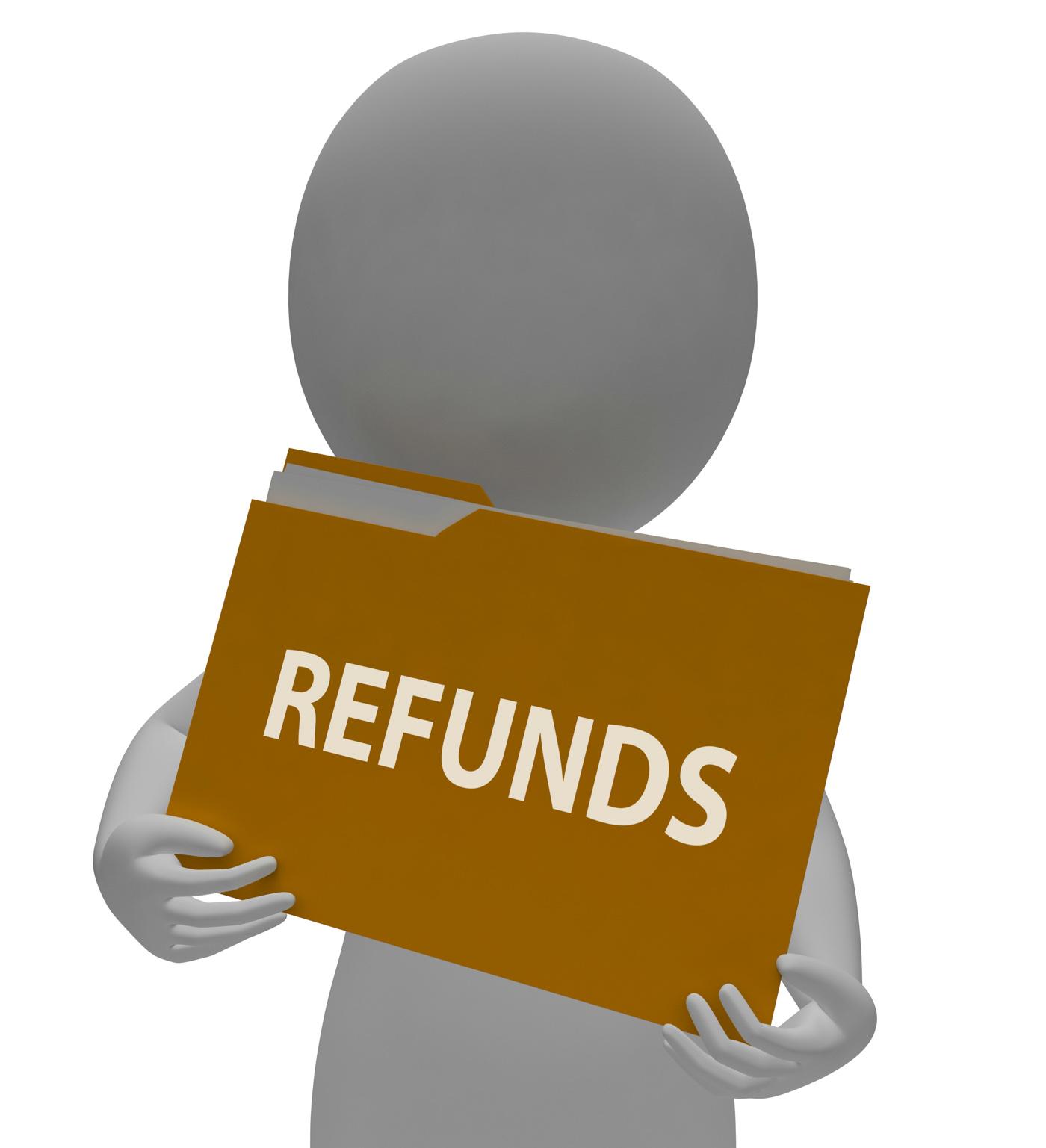Refunds Folder Means Money Back And Administration 3d Rendering, Organize, Repayment, Remuneration, Reimbursement, HQ Photo