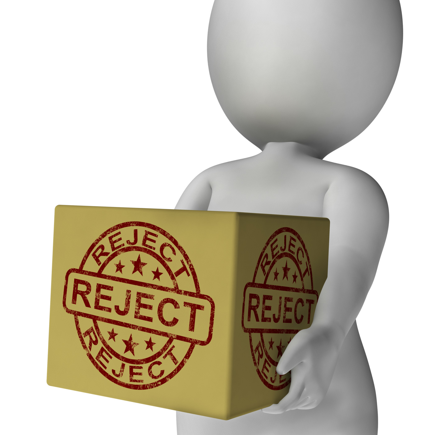 Reject stamp on box shows rejection or denied product photo